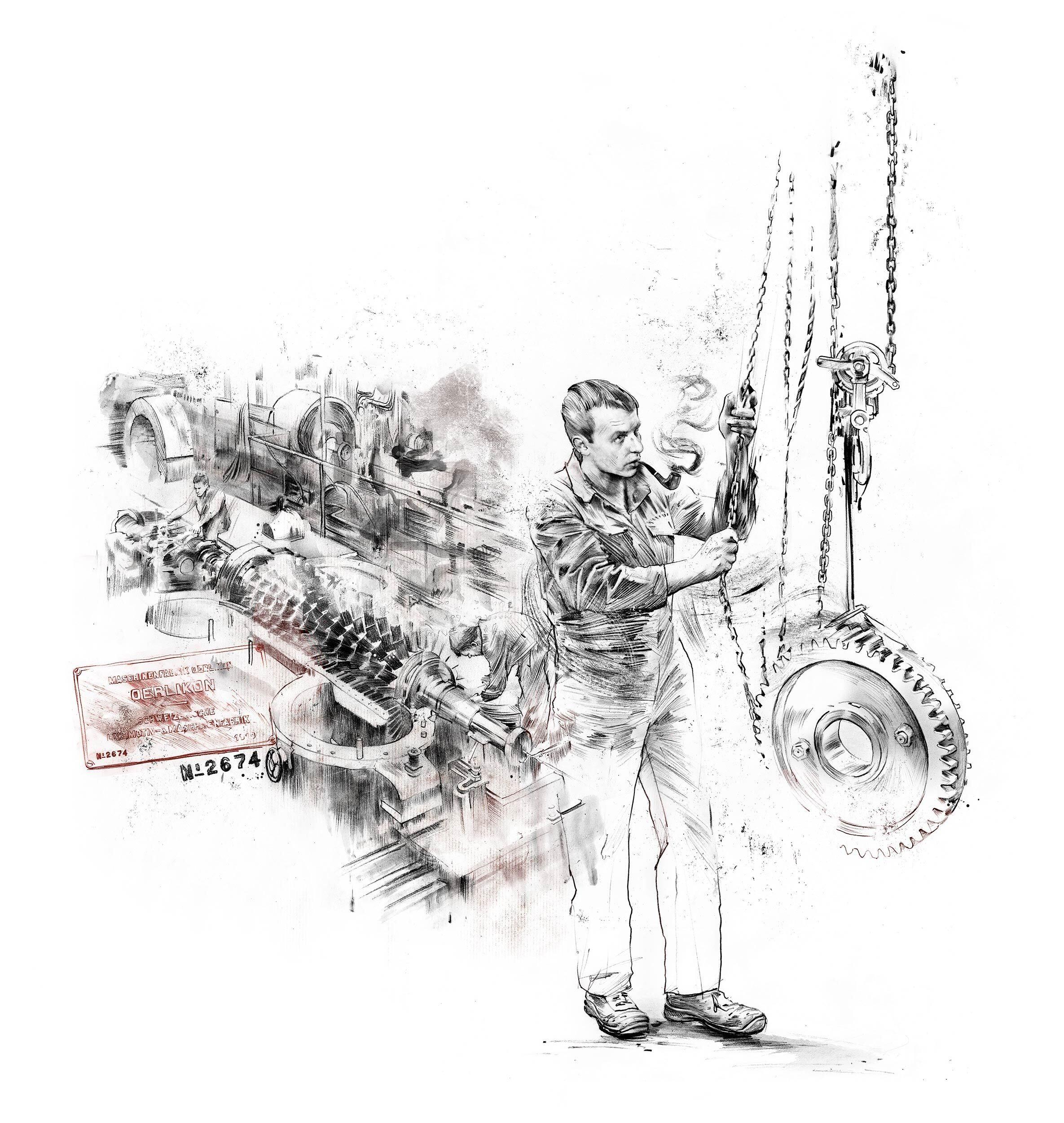 Hans Moor Mschinenfabrik Oerlikon Illustration woz - Kornel Illustration   Kornel Stadler portfolio