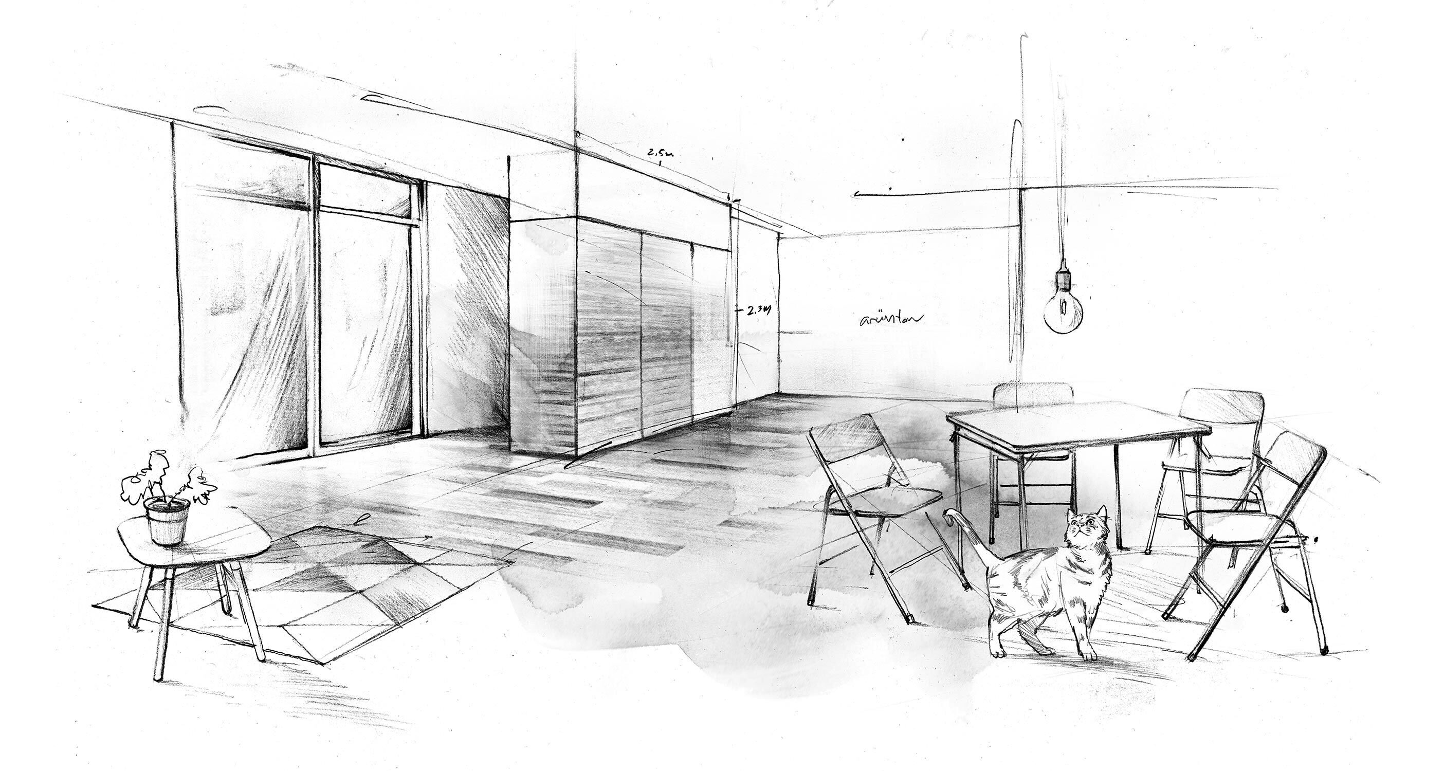 Interior design architecture sketch drawing - Kornel Illustration | Kornel Stadler portfolio
