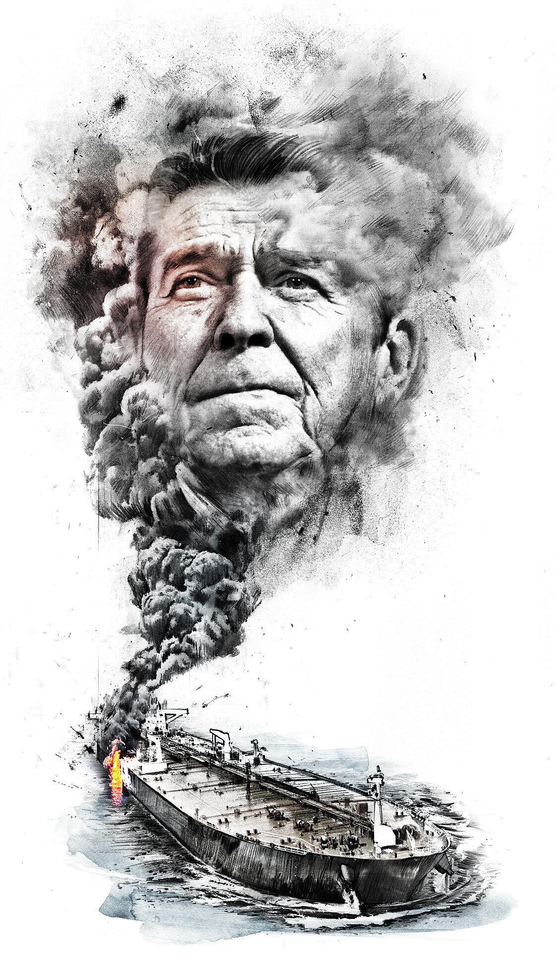 Oil tanker ronald reagen illustration - Kornel Illustration | Kornel Stadler portfolio