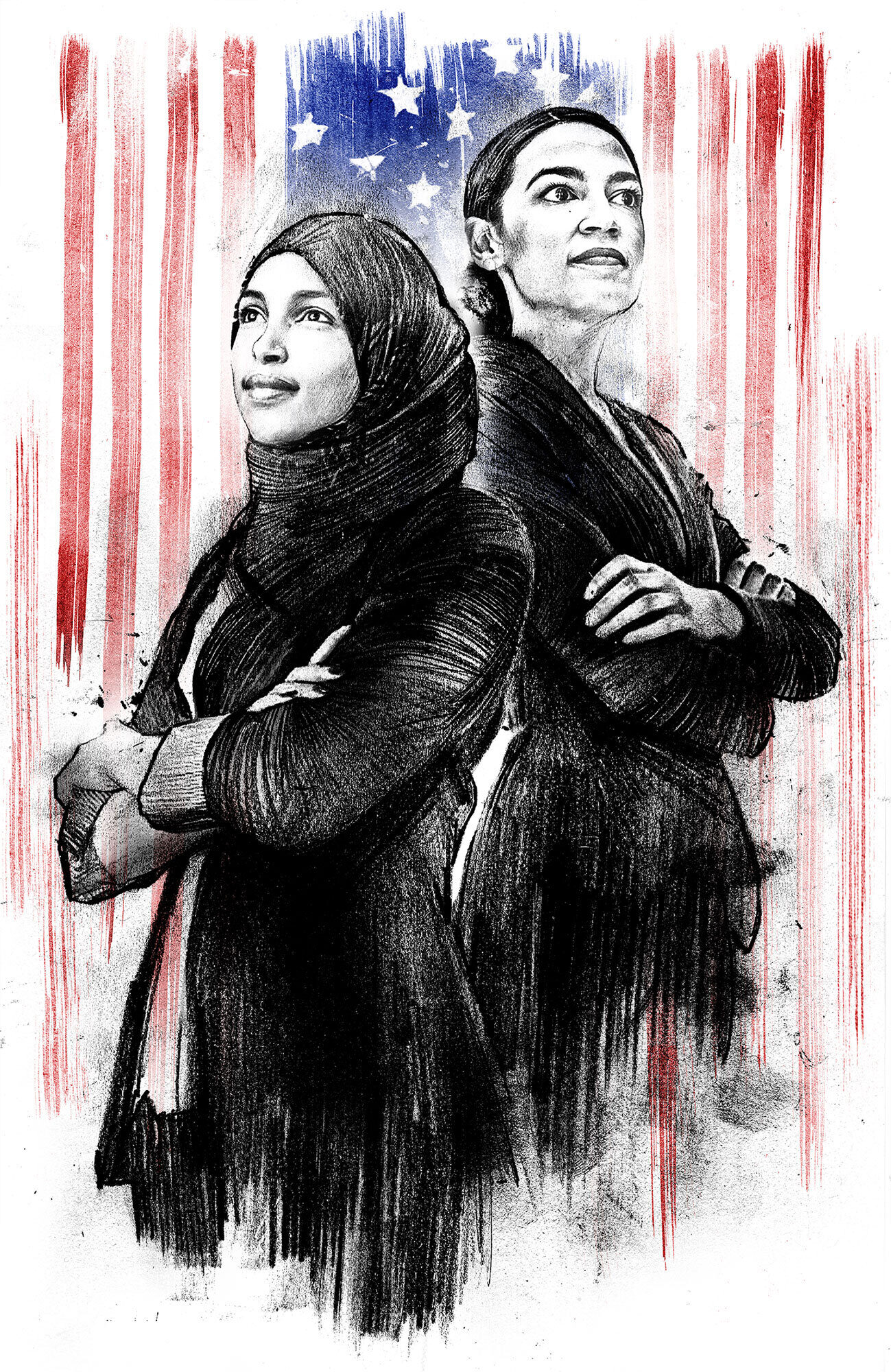 Alexandria Ocasio Cortez Ilhan Omar democratic woman illustration - Kornel Illustration | Kornel Stadler portfolio