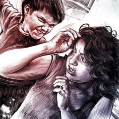 Work Gewalt illustration familie kind schlagen mutter mother crime scene illustration drawing facetime Kornel Illustration | Kornel Stadler