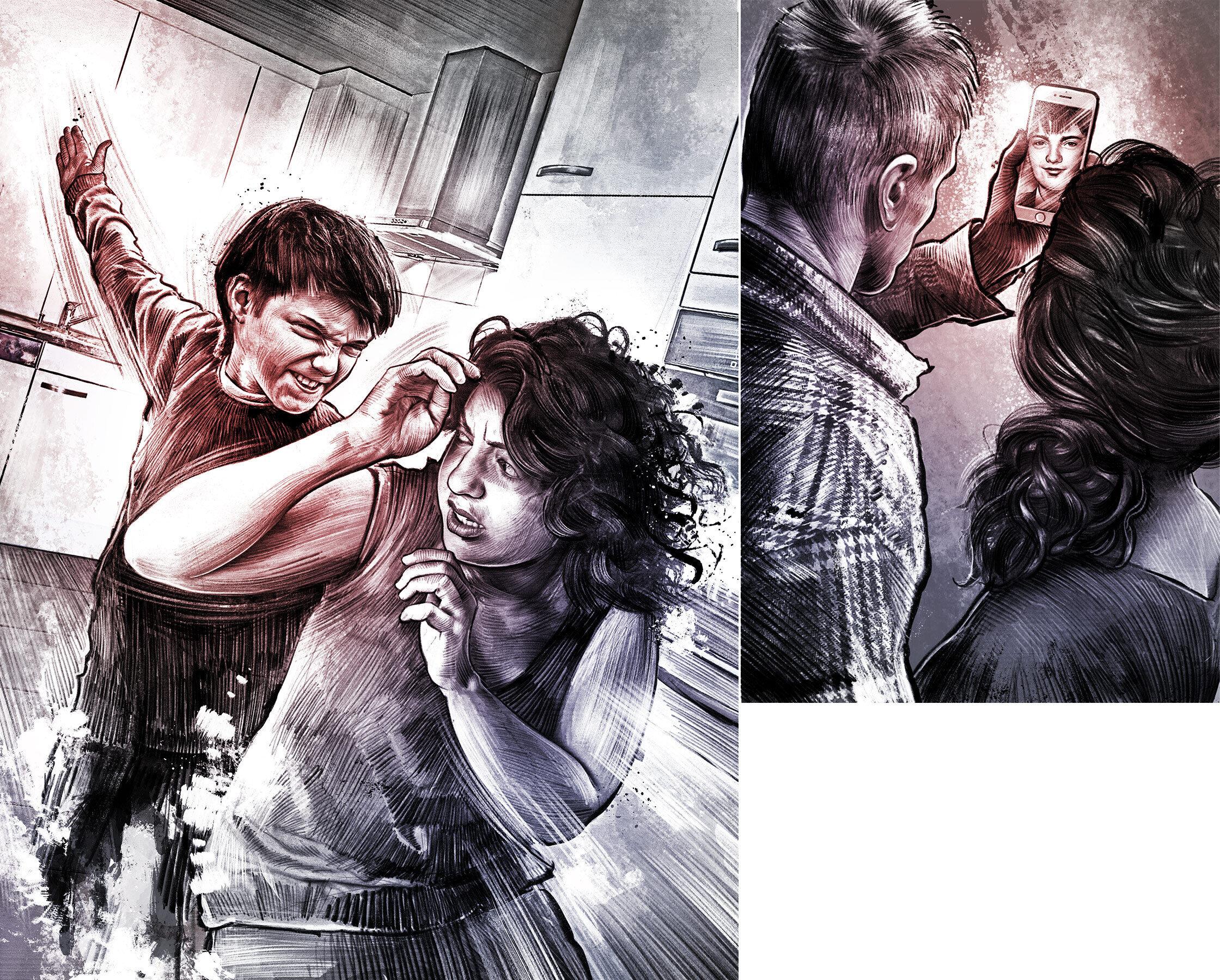 Gewalt illustration familie kind schlagen mutter mother crime scene illustration drawing facetime - Kornel Illustration   Kornel Stadler portfolio
