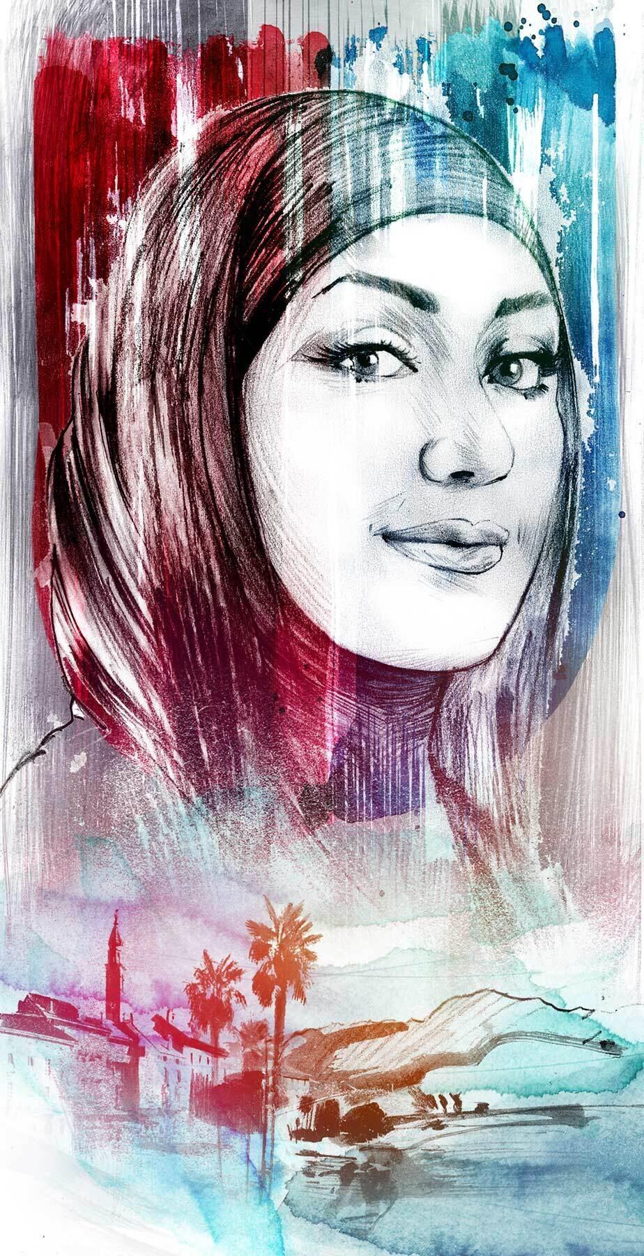 Tessin muslimische Frau illustration - Kornel Illustration | Kornel Stadler portfolio