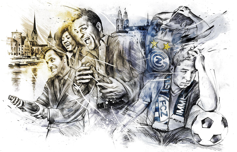 FCZ GZ Zuerich Fans Illustration - Kornel Illustration   Kornel Stadler portfolio