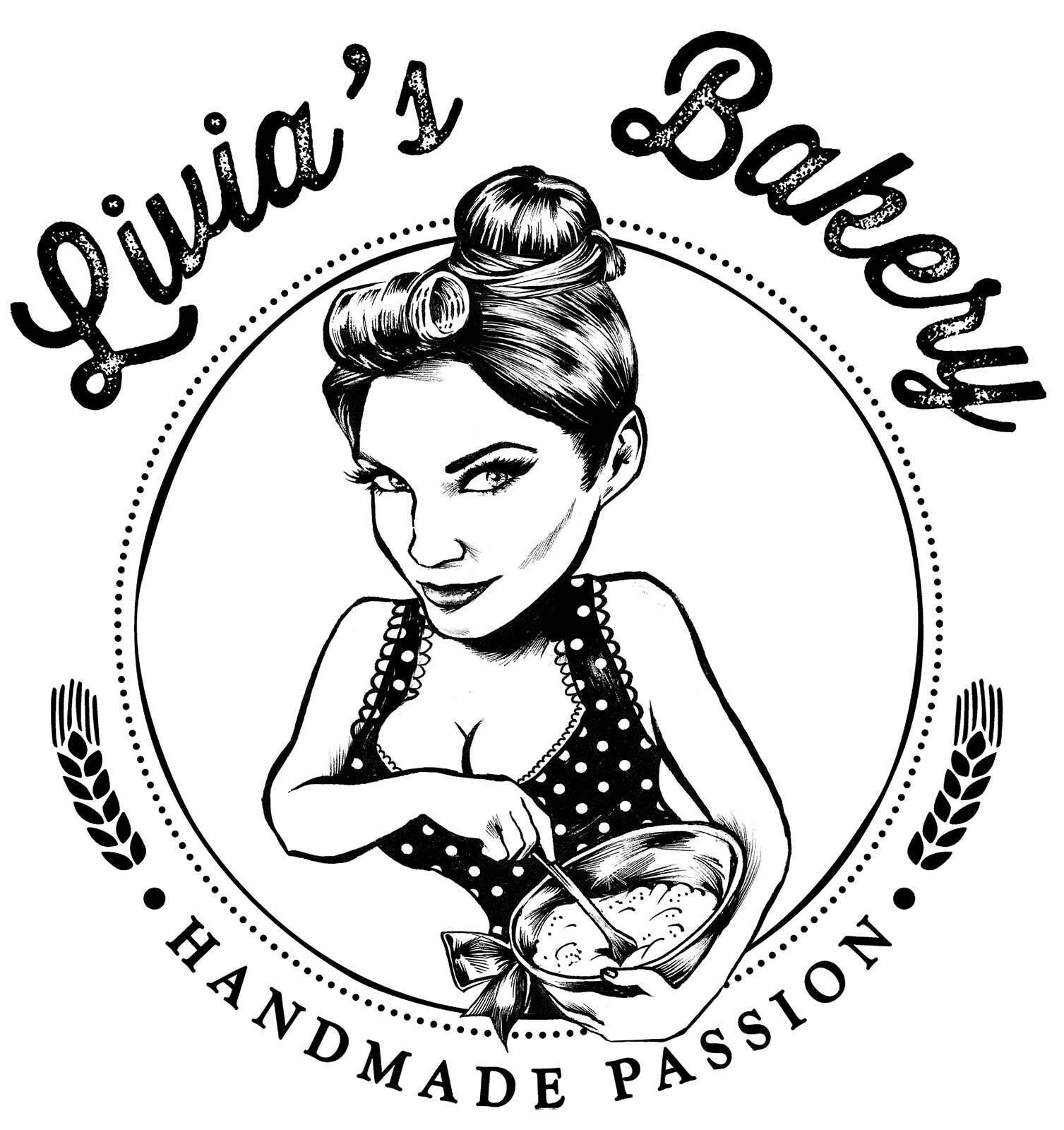 Logo livia bakery ink illustration vintage style drawing sexy - Kornel Illustration | Kornel Stadler portfolio