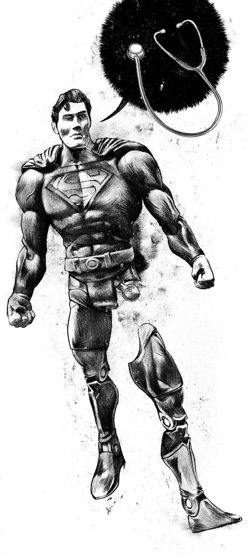 Broken Superman figure masculine doctor editorial illustration - Kornel Illustration | Kornel Stadler portfolio