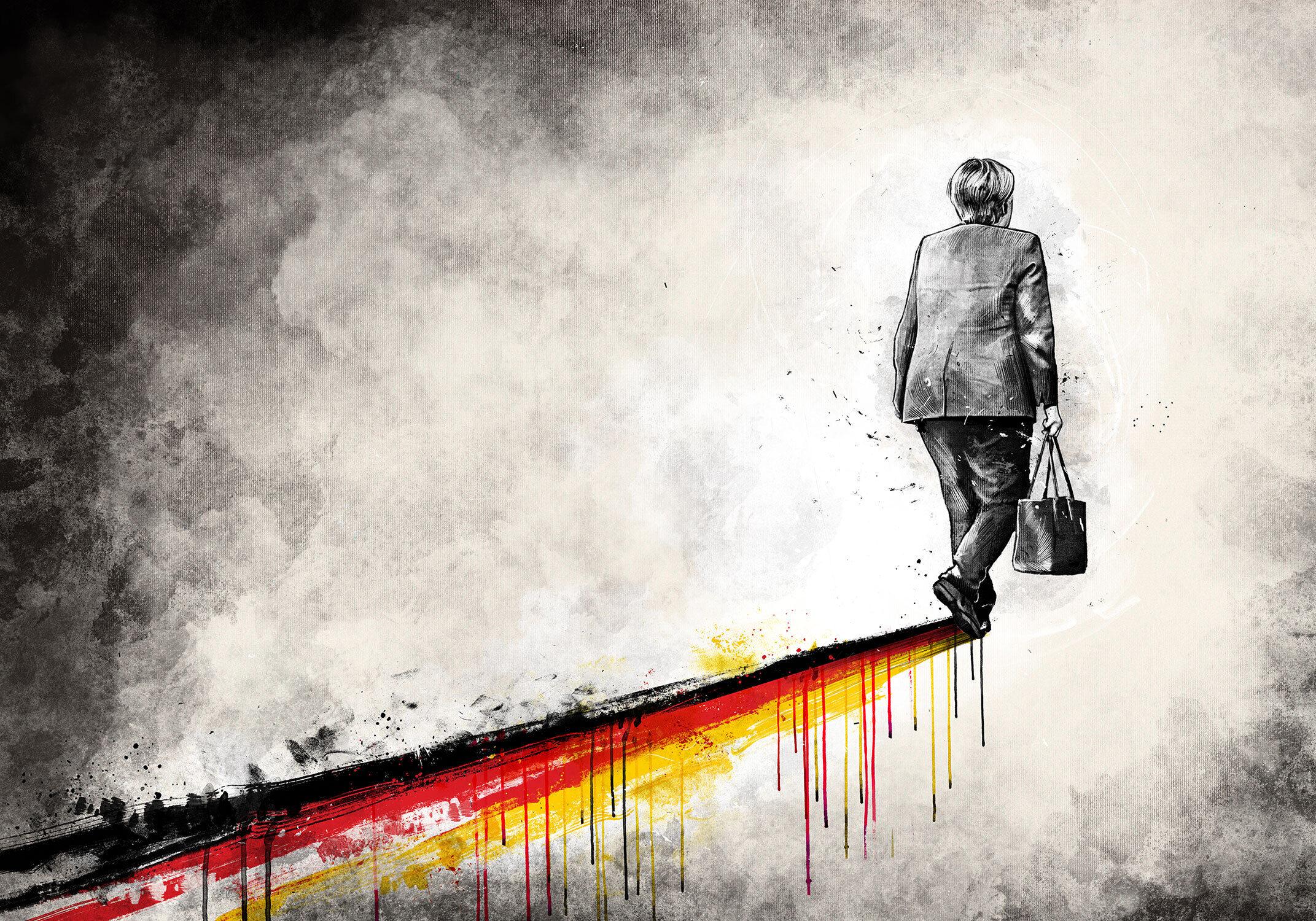 Illustration editorial angela merkel union bundeskanzlerin abgang amtszeit regierung amtsperiode adieu deutschland spur schatten - Kornel Illustration | Kornel Stadler portfolio