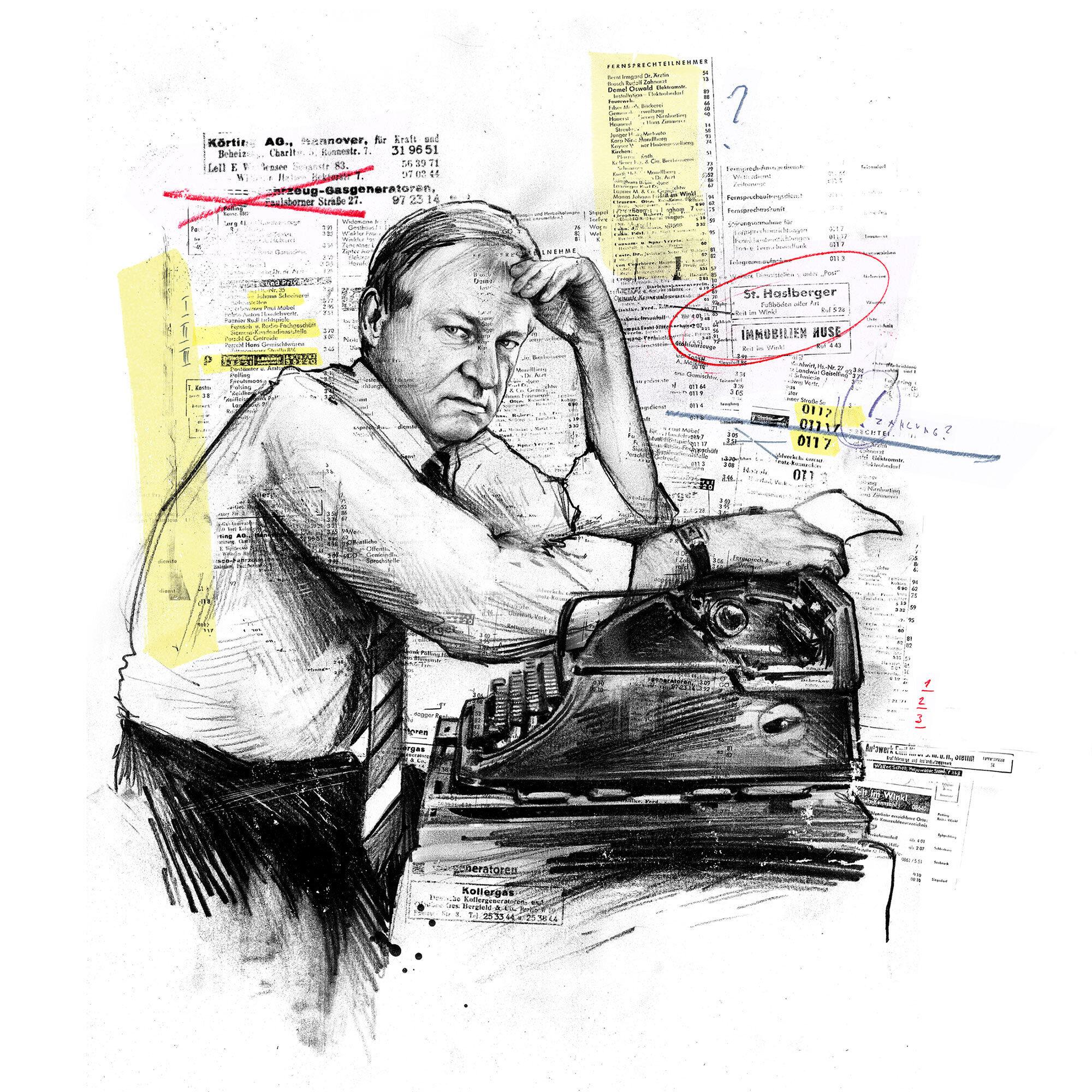 Ludwig A Minelli Telefonbuch Portrait Illustration WOZ - Kornel Illustration | Kornel Stadler portfolio