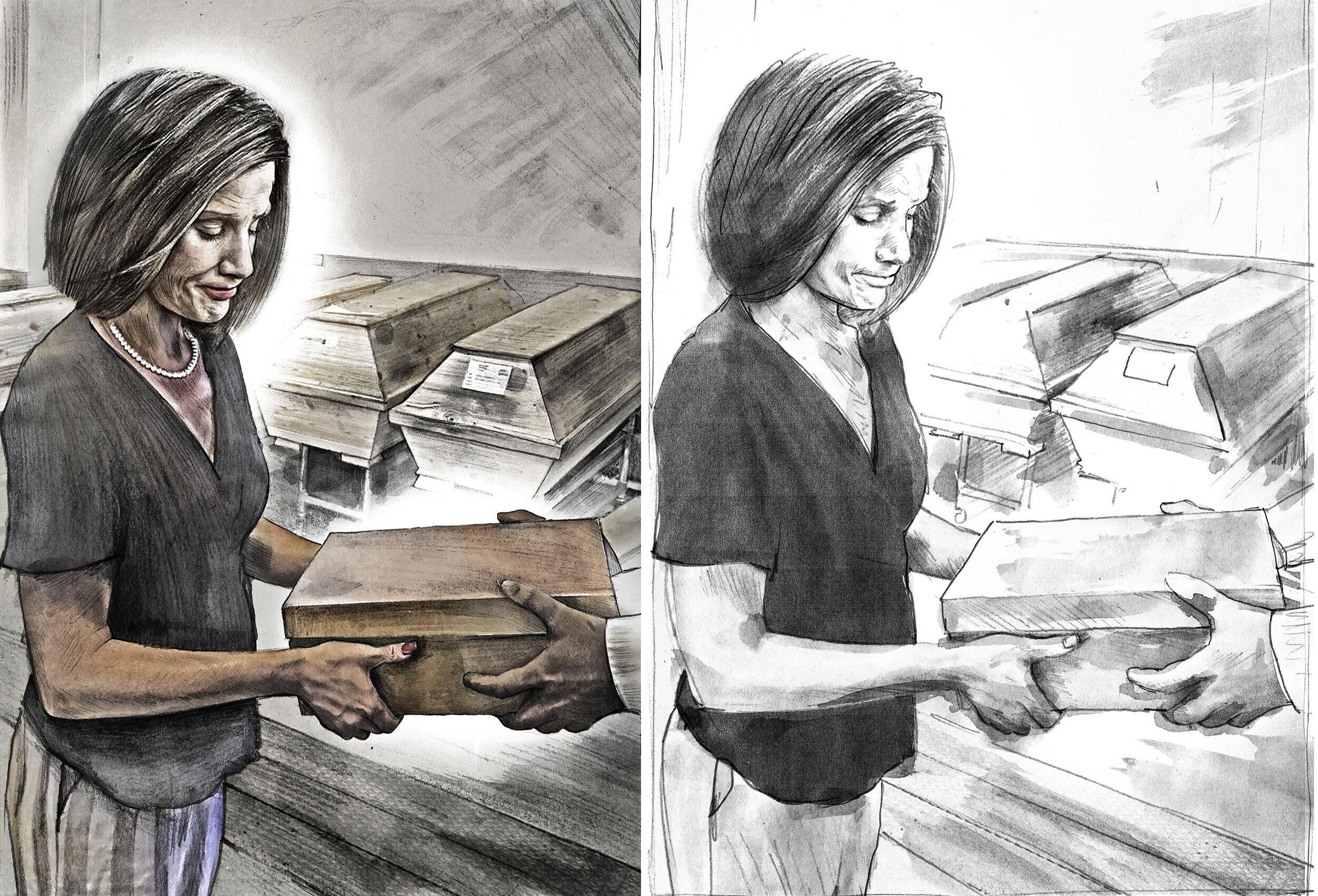 Sad woman coffin illustration - Kornel Illustration | Kornel Stadler portfolio