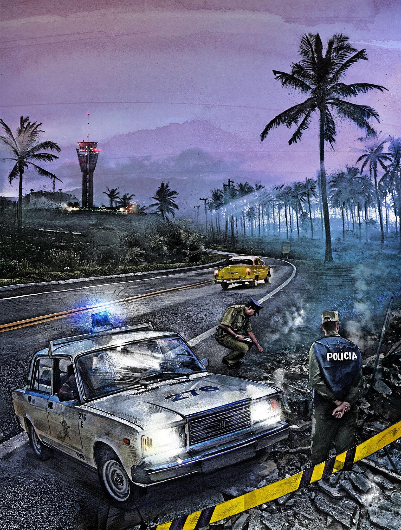 Crime scene illustration cuba - Kornel Illustration | Kornel Stadler portfolio