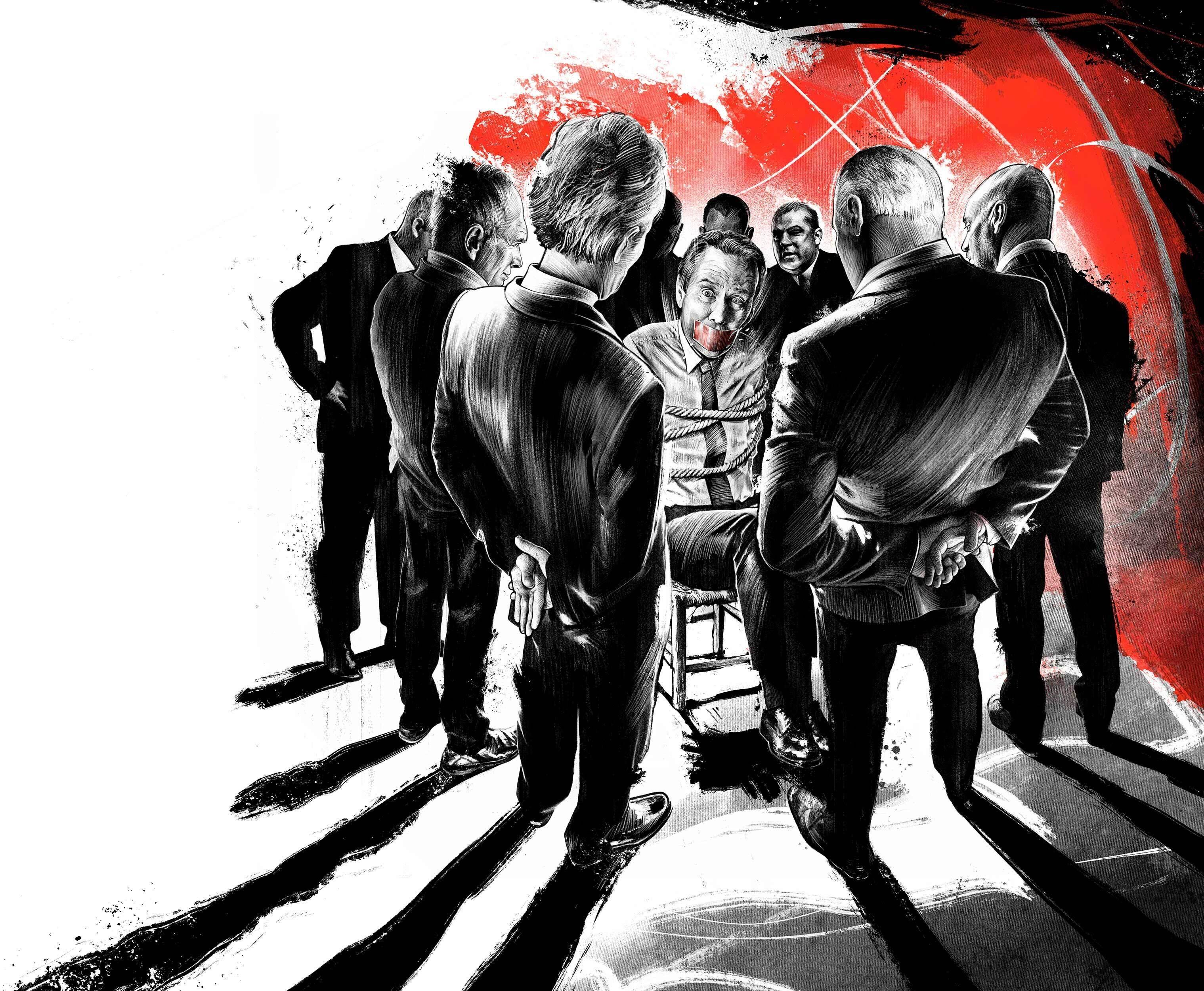 Editorial illustration magazine board members aktionaere ink drawing crime scene kidnapped geknebelt - Kornel Illustration | Kornel Stadler portfolio