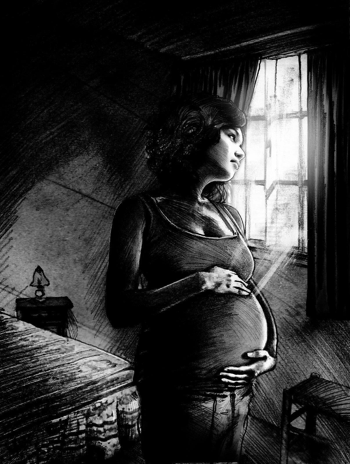 Young woman sad pregnant window illustration - Kornel Illustration | Kornel Stadler portfolio