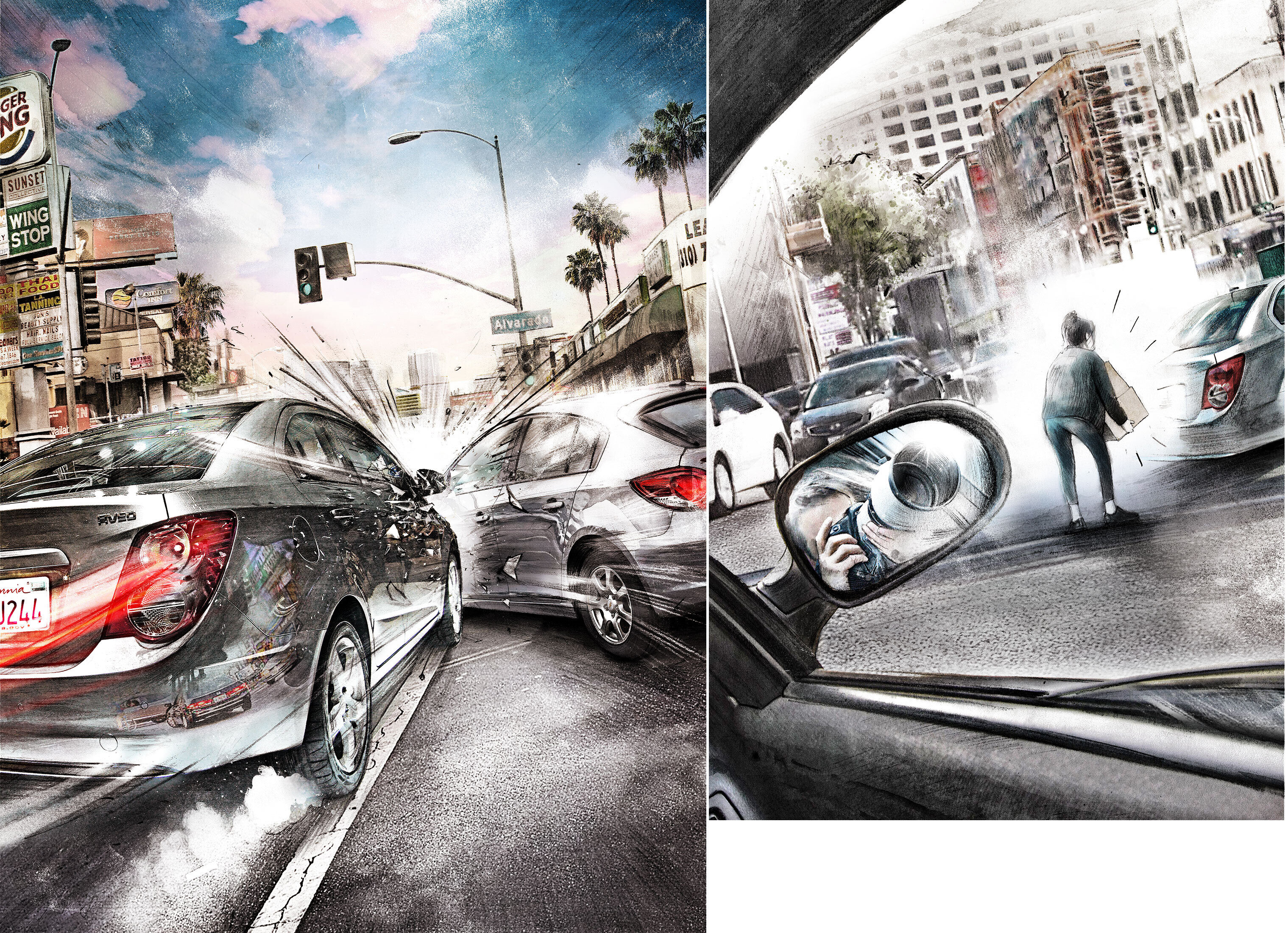 LA car crash - Kornel Illustration | Kornel Stadler portfolio