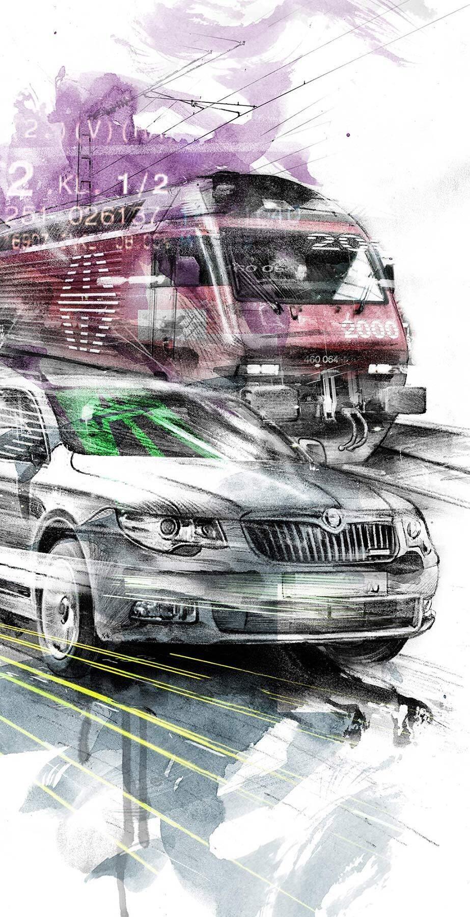 SBB vs PKW Zug Auto Illustration - Kornel Illustration   Kornel Stadler portfolio