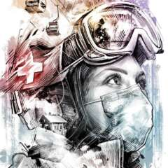 Work Ski Saison Skifahren Corona Matterhorn Schweiz Zematt Illustration Kornel Illustration | Kornel Stadler