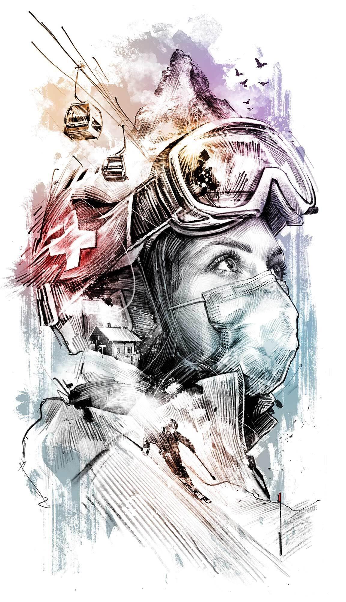 Ski Saison Skifahren Corona Matterhorn Schweiz Zematt Illustration - Kornel Illustration   Kornel Stadler portfolio