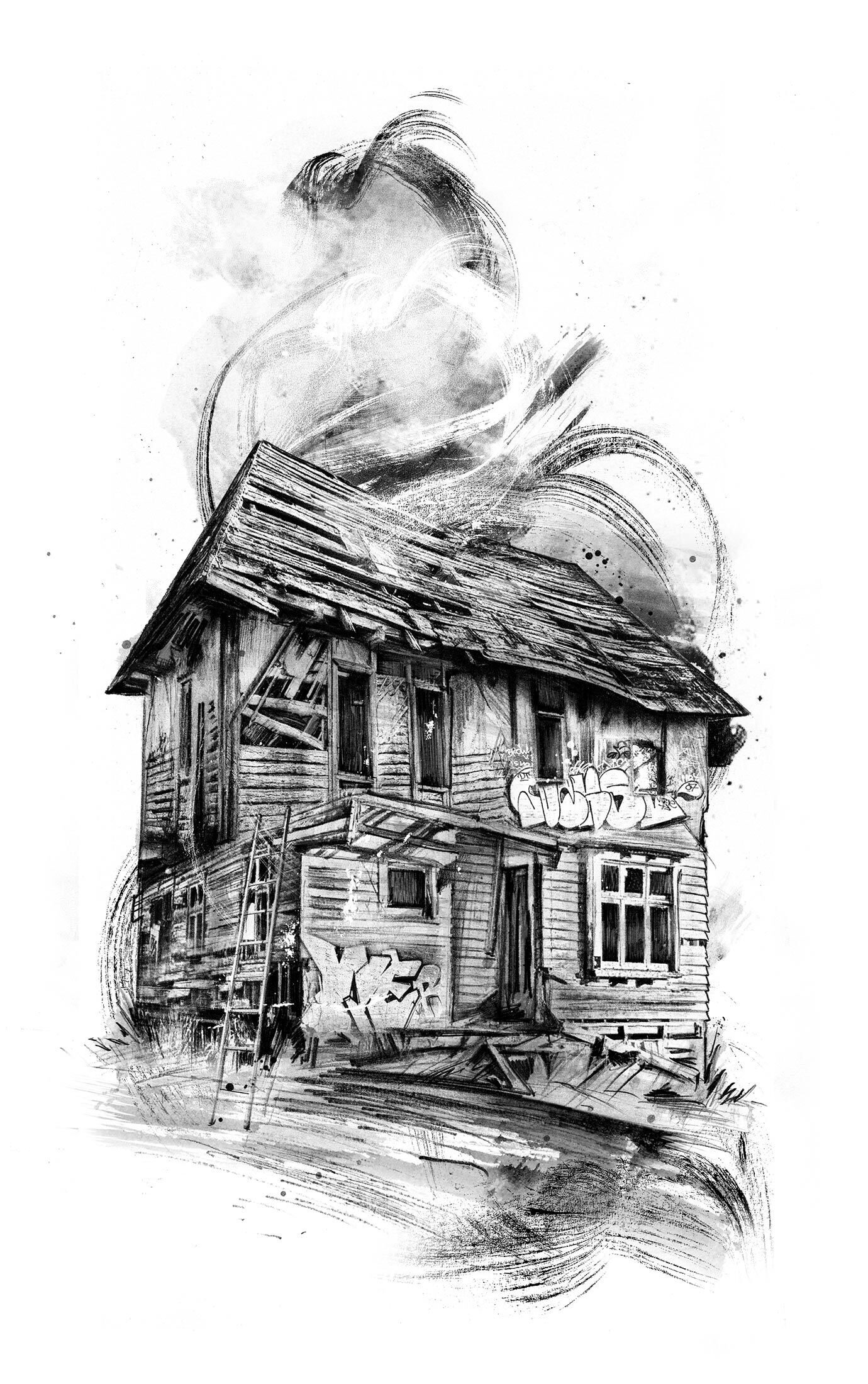 Old house bombing graffiti illustration drawing sketch - Kornel Illustration | Kornel Stadler portfolio