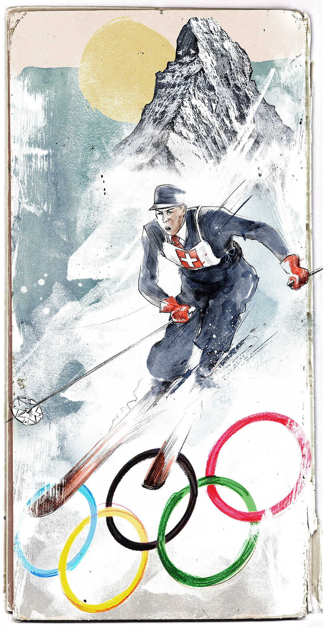 Olympia ski vintage switzerland matterhorn - Kornel Illustration | Kornel Stadler portfolio