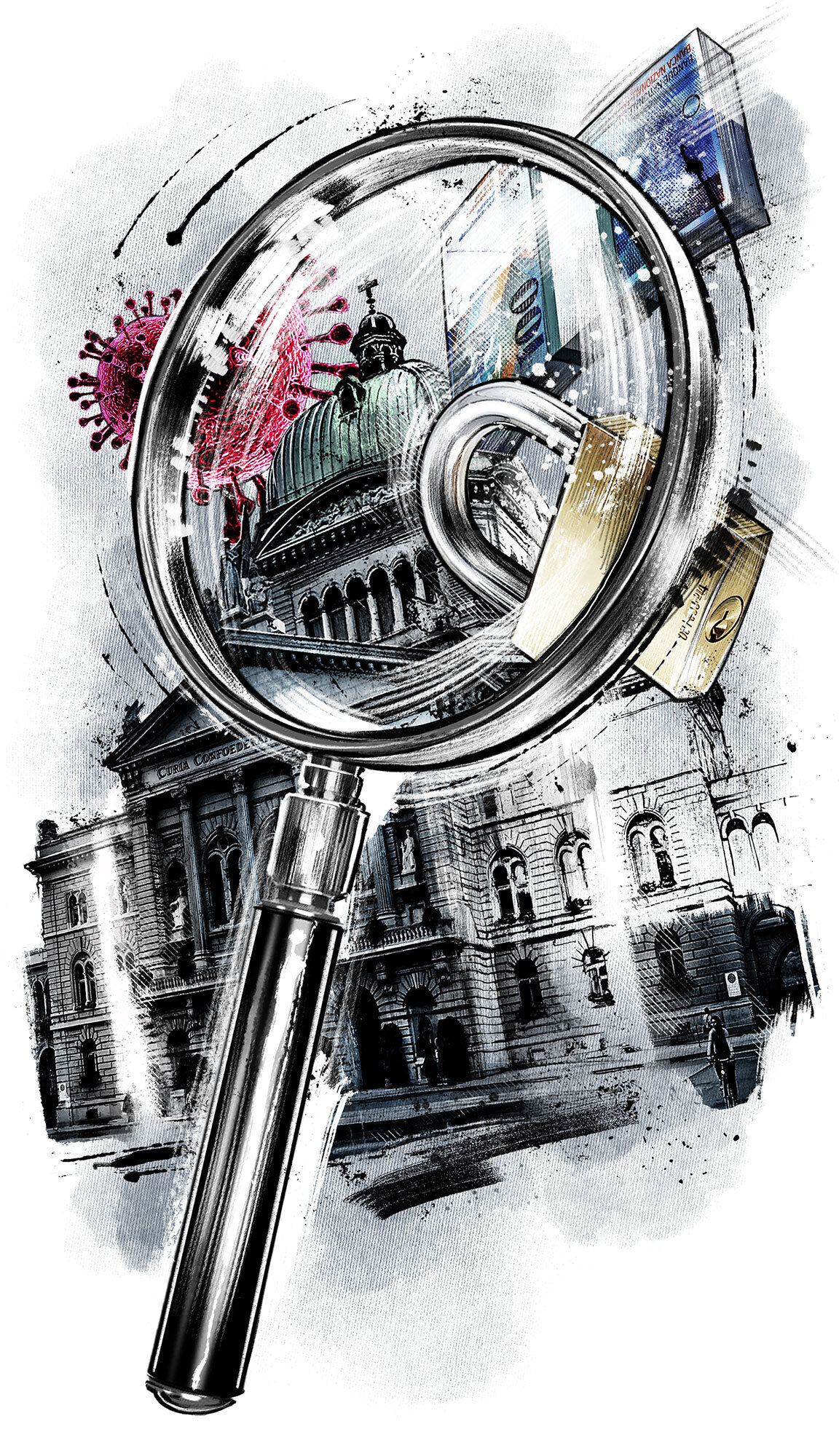 Editorial illustration bundeshaus bilanz politik corona schweiz - Kornel Illustration | Kornel Stadler portfolio