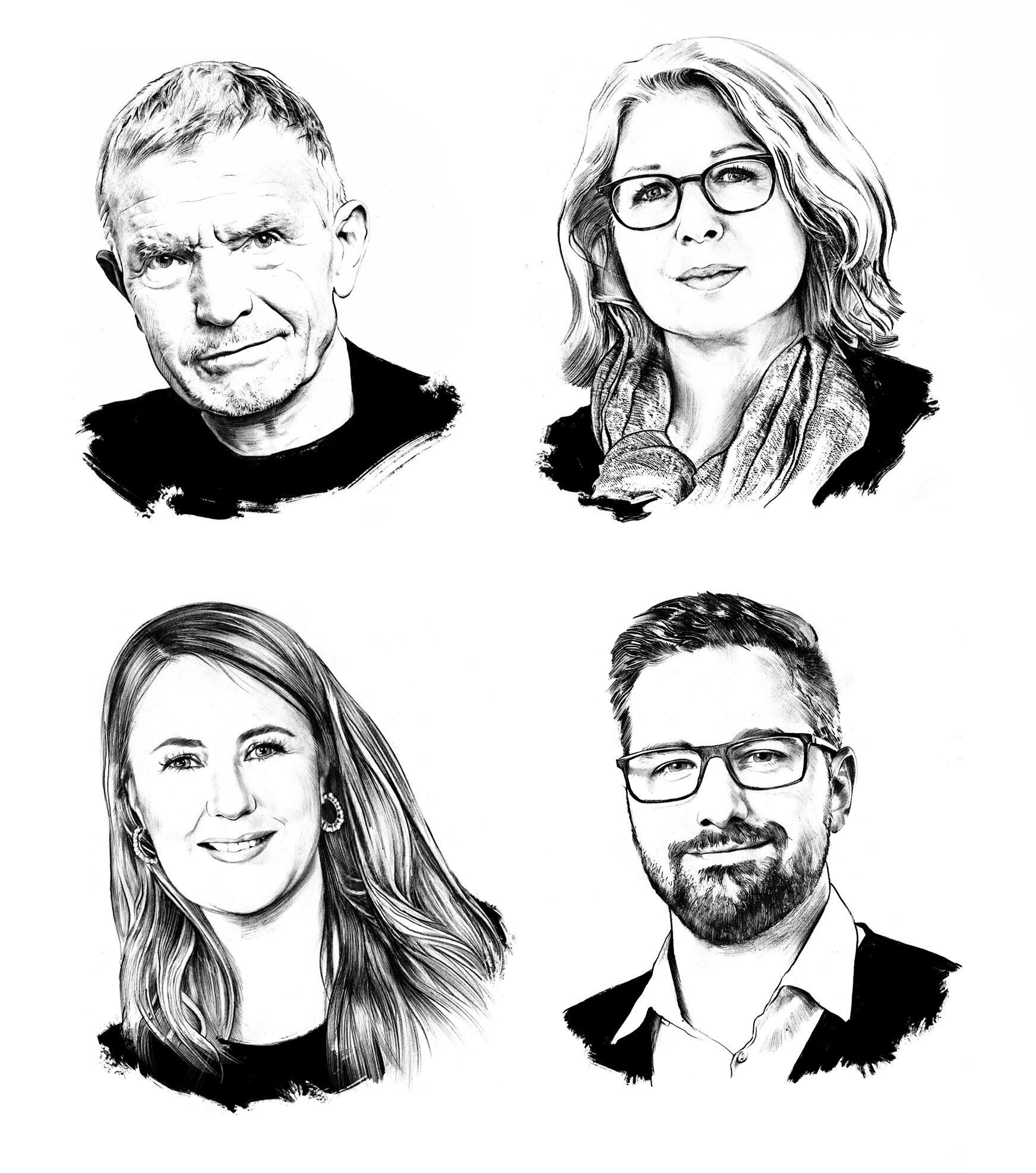 Portrait illustration black white editorial heads - Kornel Illustration | Kornel Stadler portfolio