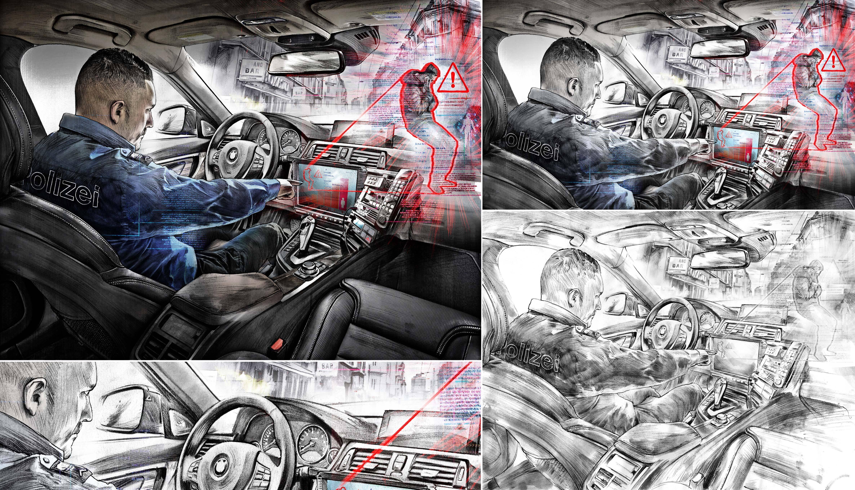 Predictive Policing illustration - Kornel Illustration | Kornel Stadler portfolio