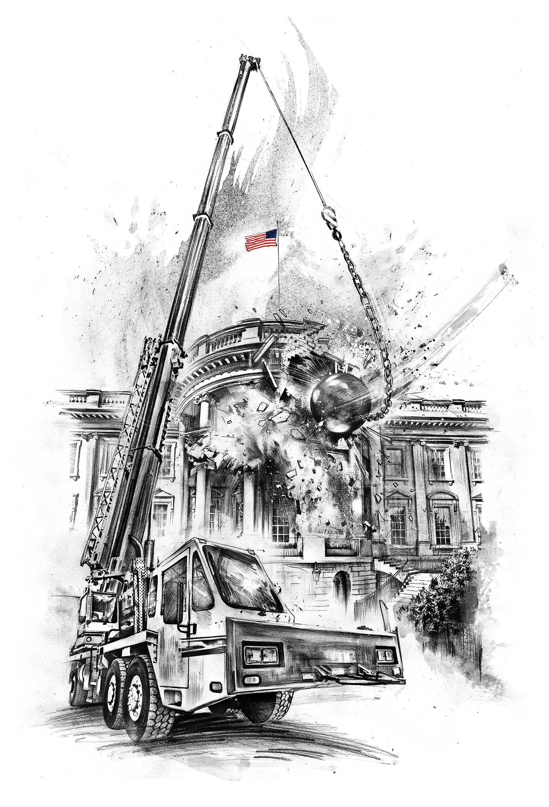 White house demolation illustration - Kornel Illustration | Kornel Stadler portfolio