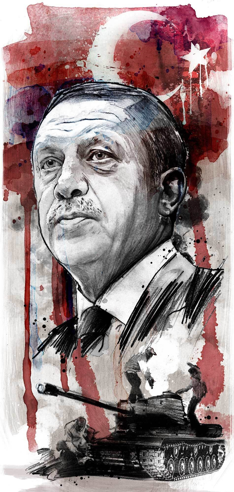 Turkey Erdogan editorial portrait illustration - Kornel Illustration | Kornel Stadler portfolio