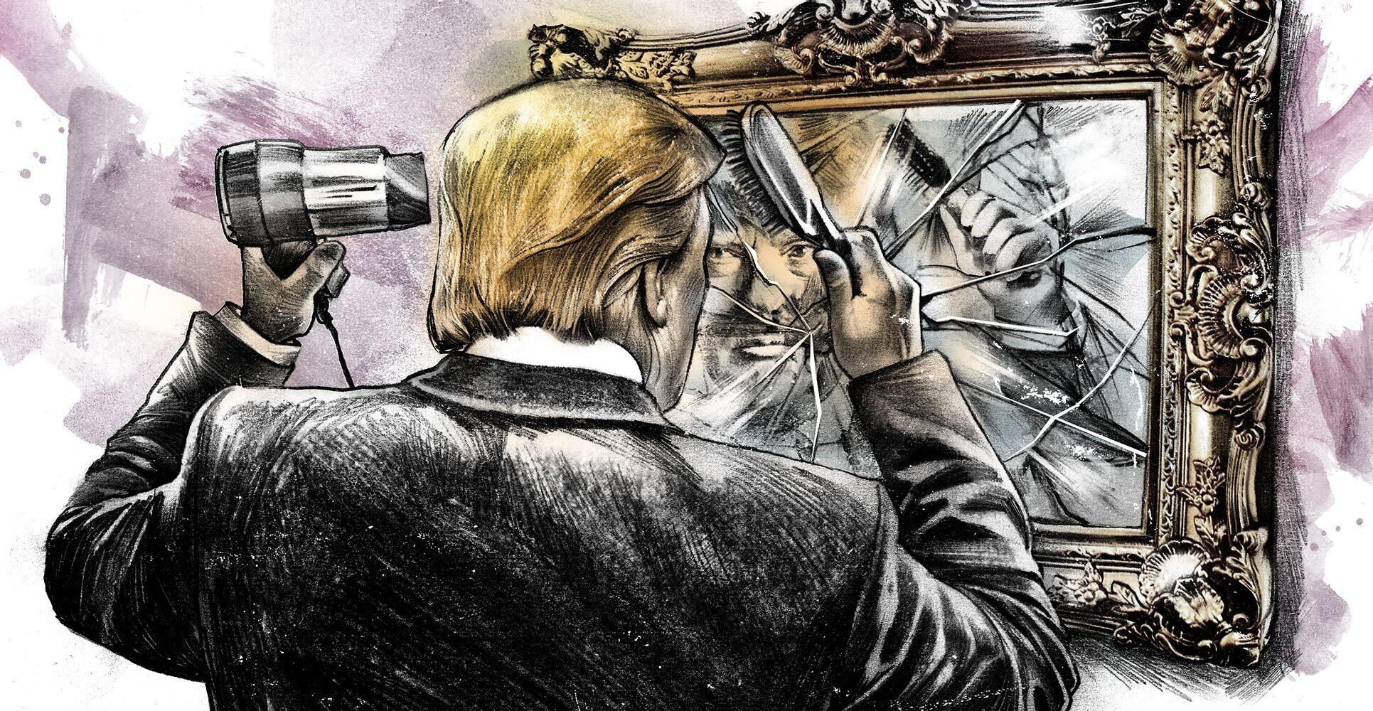 Donald Trump broken mirror editorial illustration - Kornel Illustration | Kornel Stadler portfolio