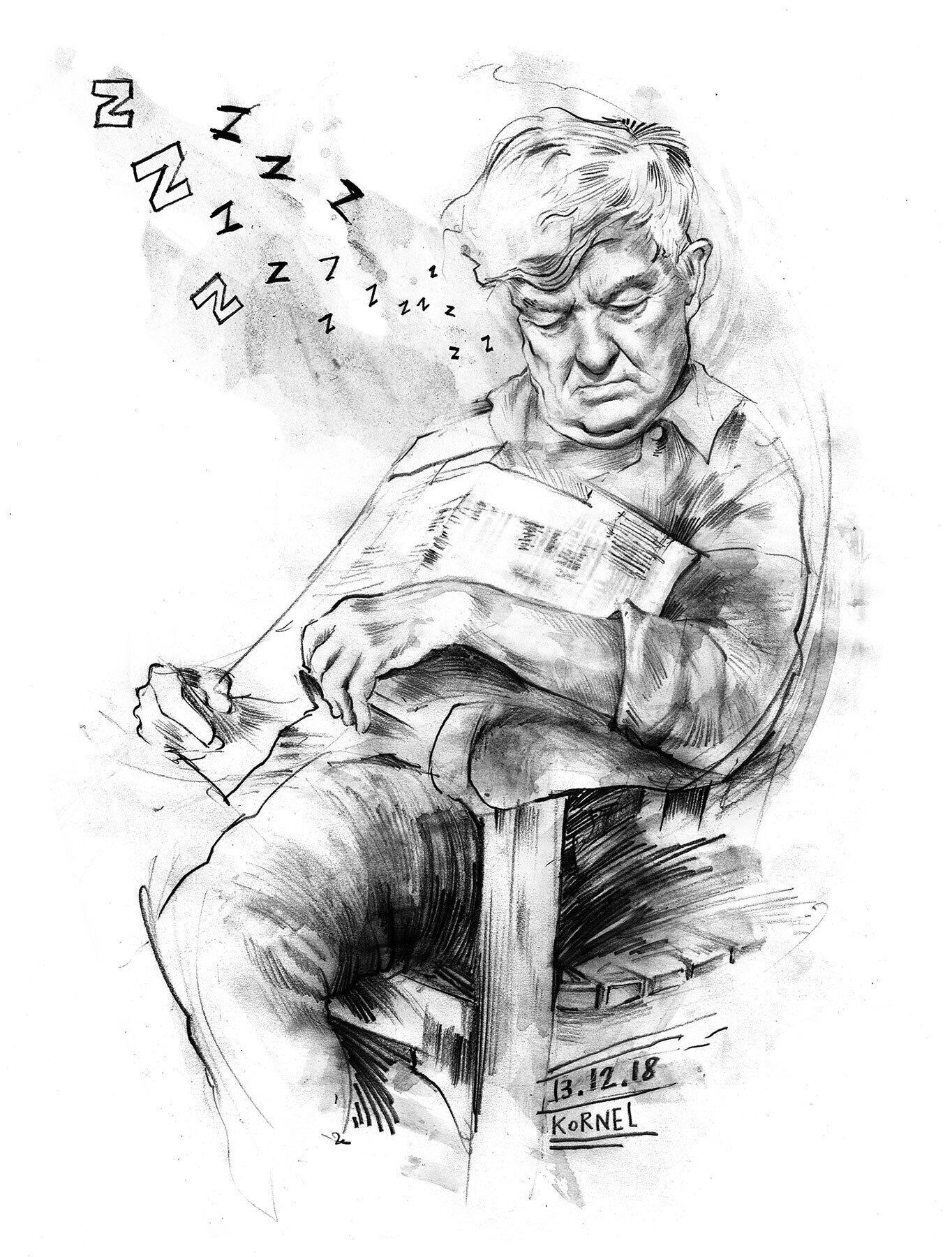 Sleeping man sketch pencil - Kornel Illustration | Kornel Stadler portfolio