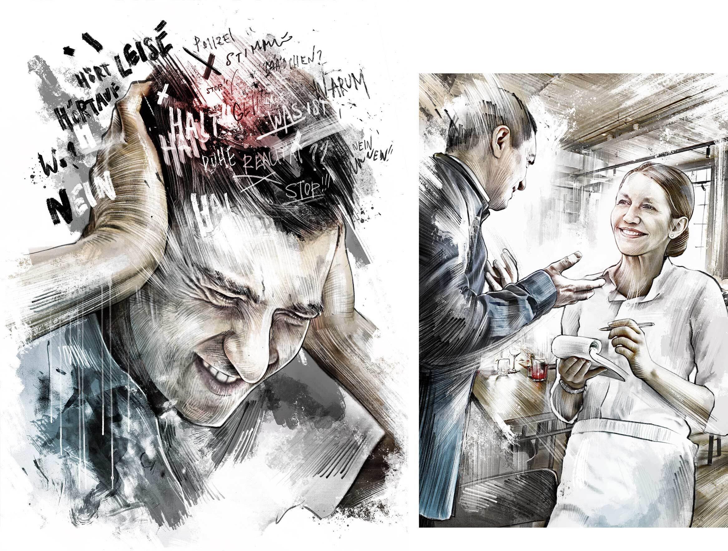 Schizofrenie illustration stimmen im kopf - Kornel Illustration | Kornel Stadler portfolio