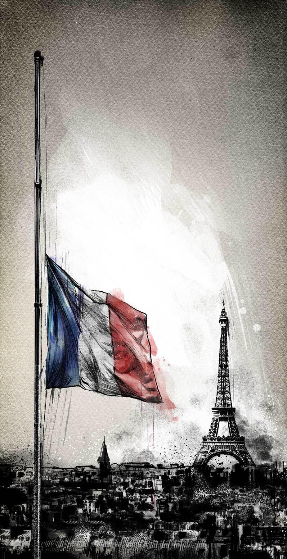 Paris Attentat Frankreich Illustration Trauer Editorial Eiffelturm - Kornel Illustration   Kornel Stadler portfolio