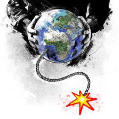 Work Editorial earth klima terror klimaerwaermung fridays for future world illustration global warming hands time bomb zeitbombe Kornel Illustration | Kornel Stadler