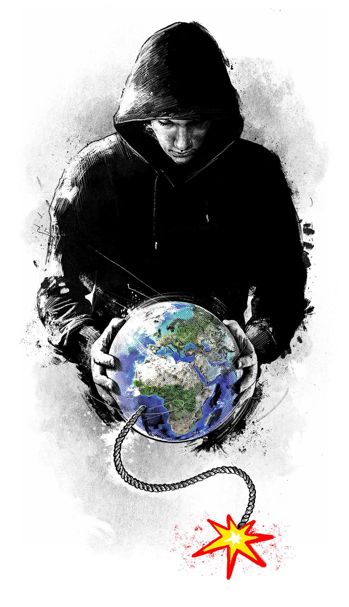 Editorial earth klima terror klimaerwaermung fridays for future world illustration global warming hands time bomb zeitbombe - Kornel Illustration | Kornel Stadler portfolio
