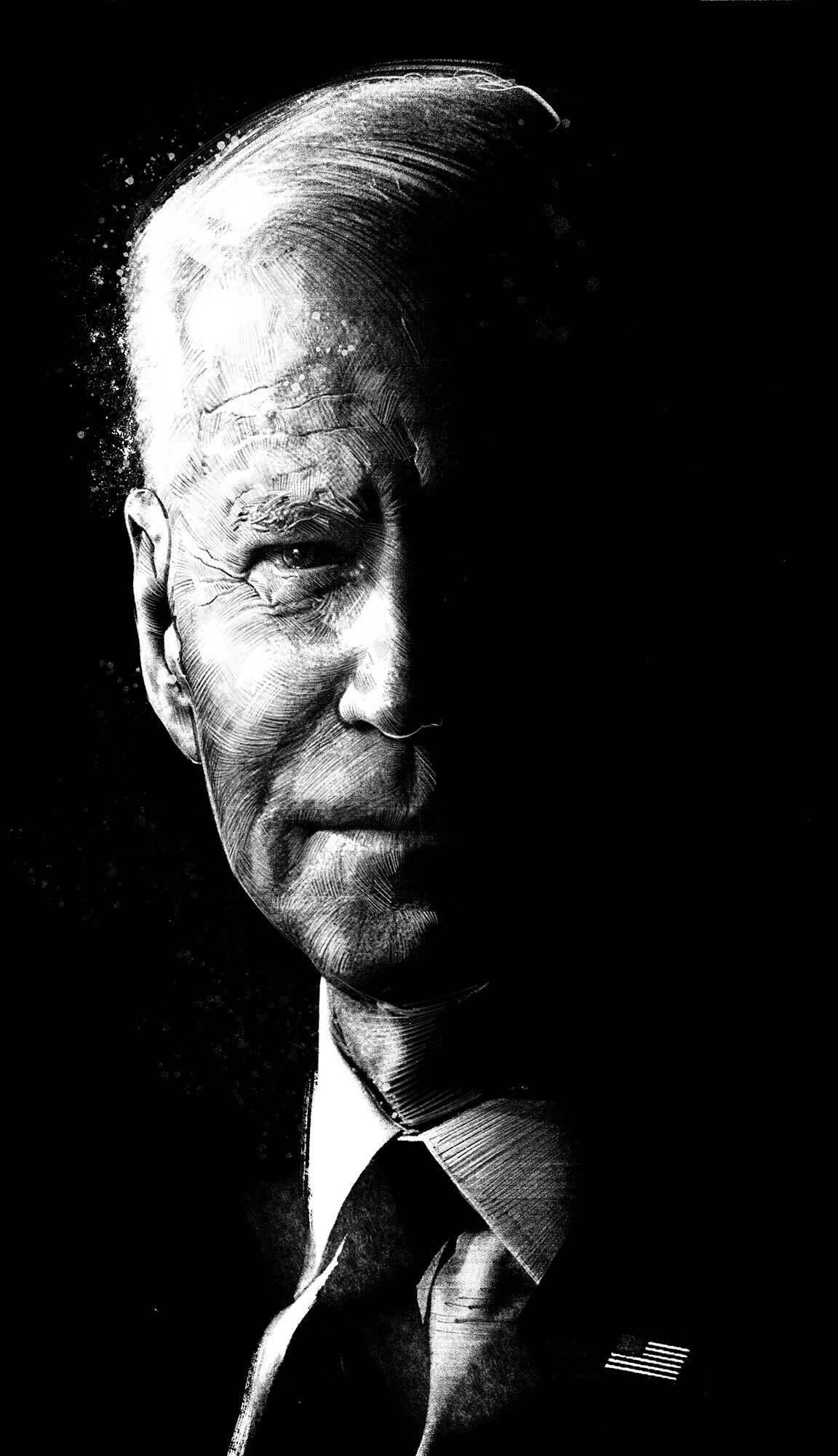 Joe Biden portait illustration editorial black and white phantom shadow light us president political - Kornel Illustration | Kornel Stadler portfolio