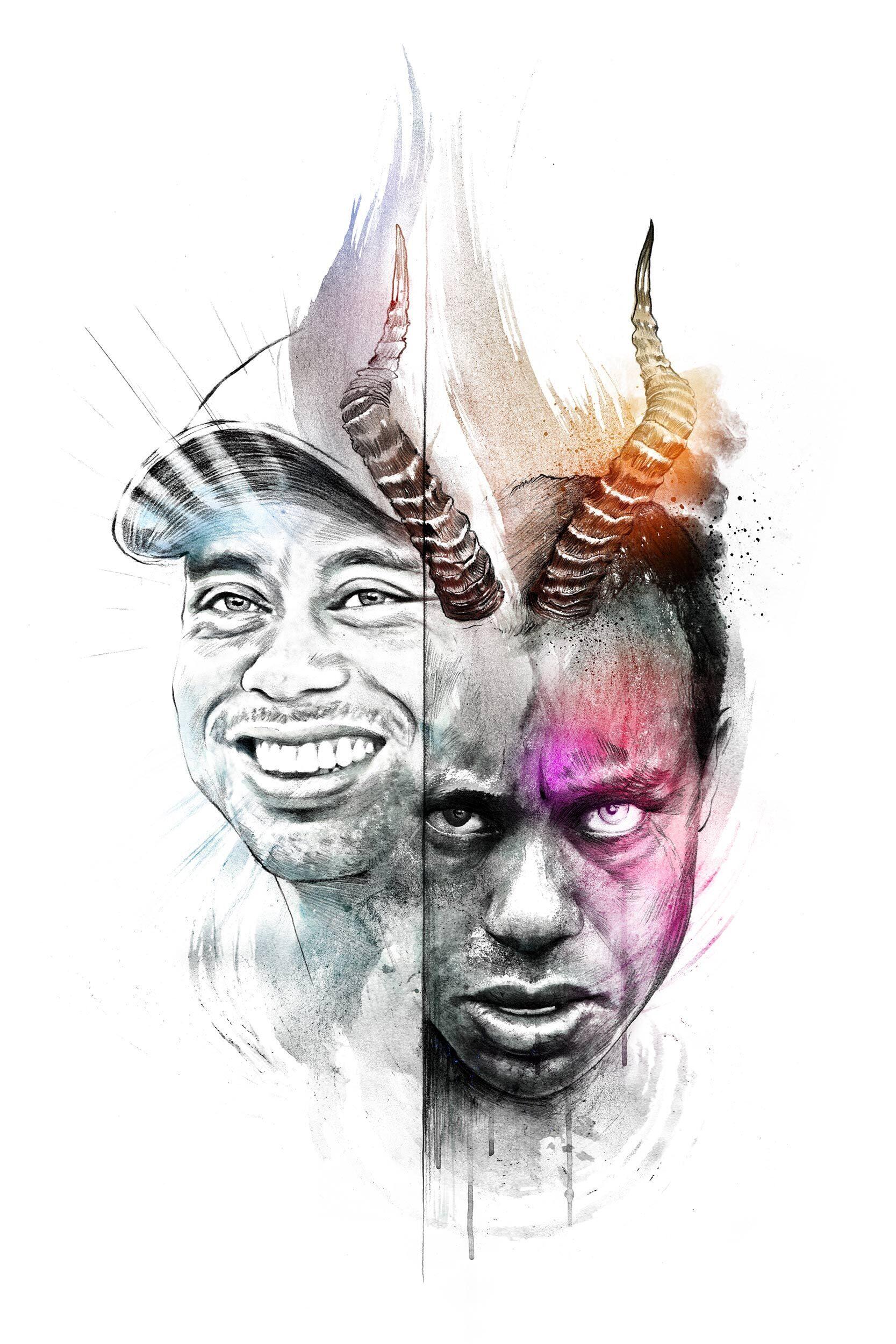 Tiger Woods two faces artwork illustration - Kornel Illustration   Kornel Stadler portfolio
