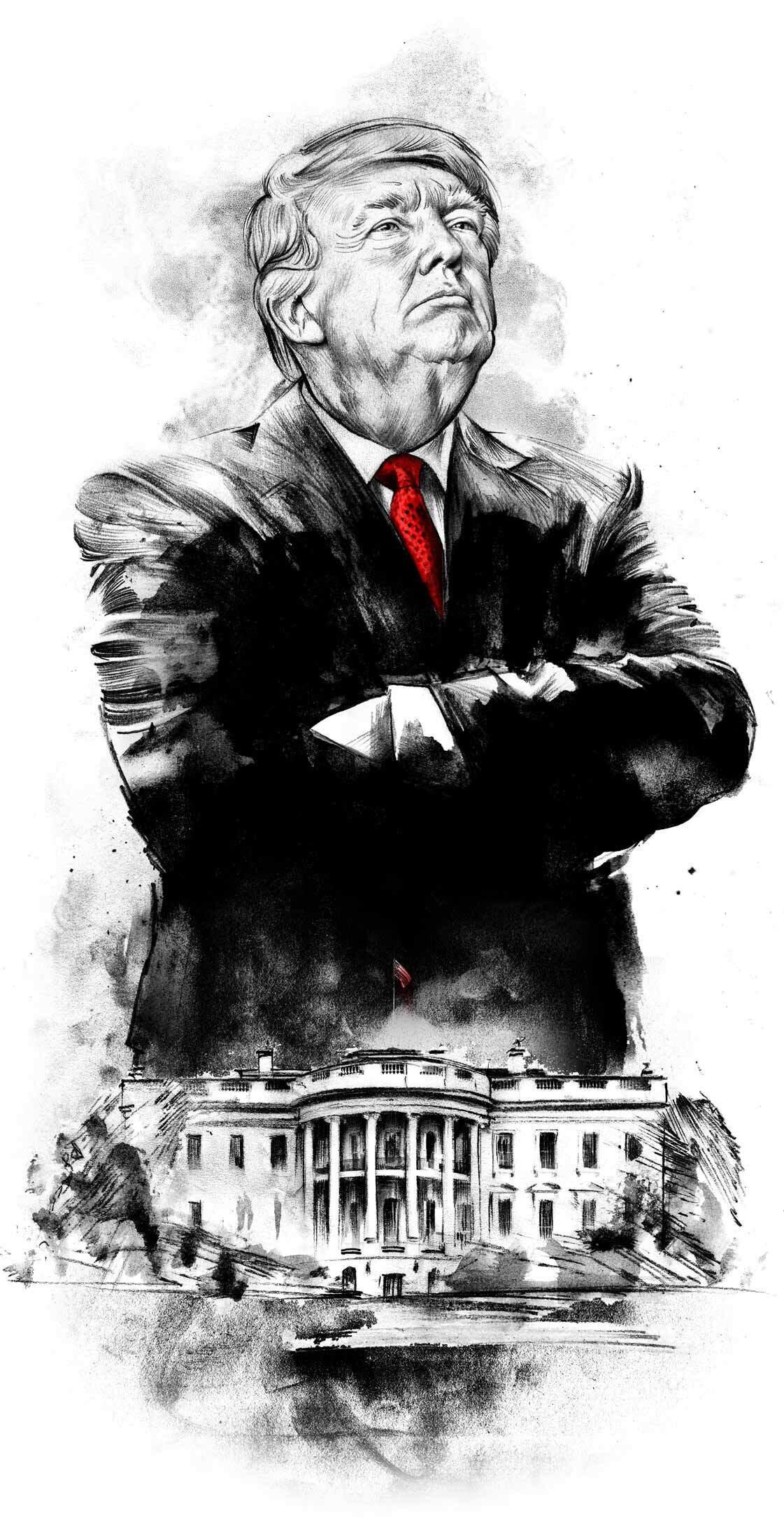 Trump white house illustration portrait - Kornel Illustration | Kornel Stadler portfolio