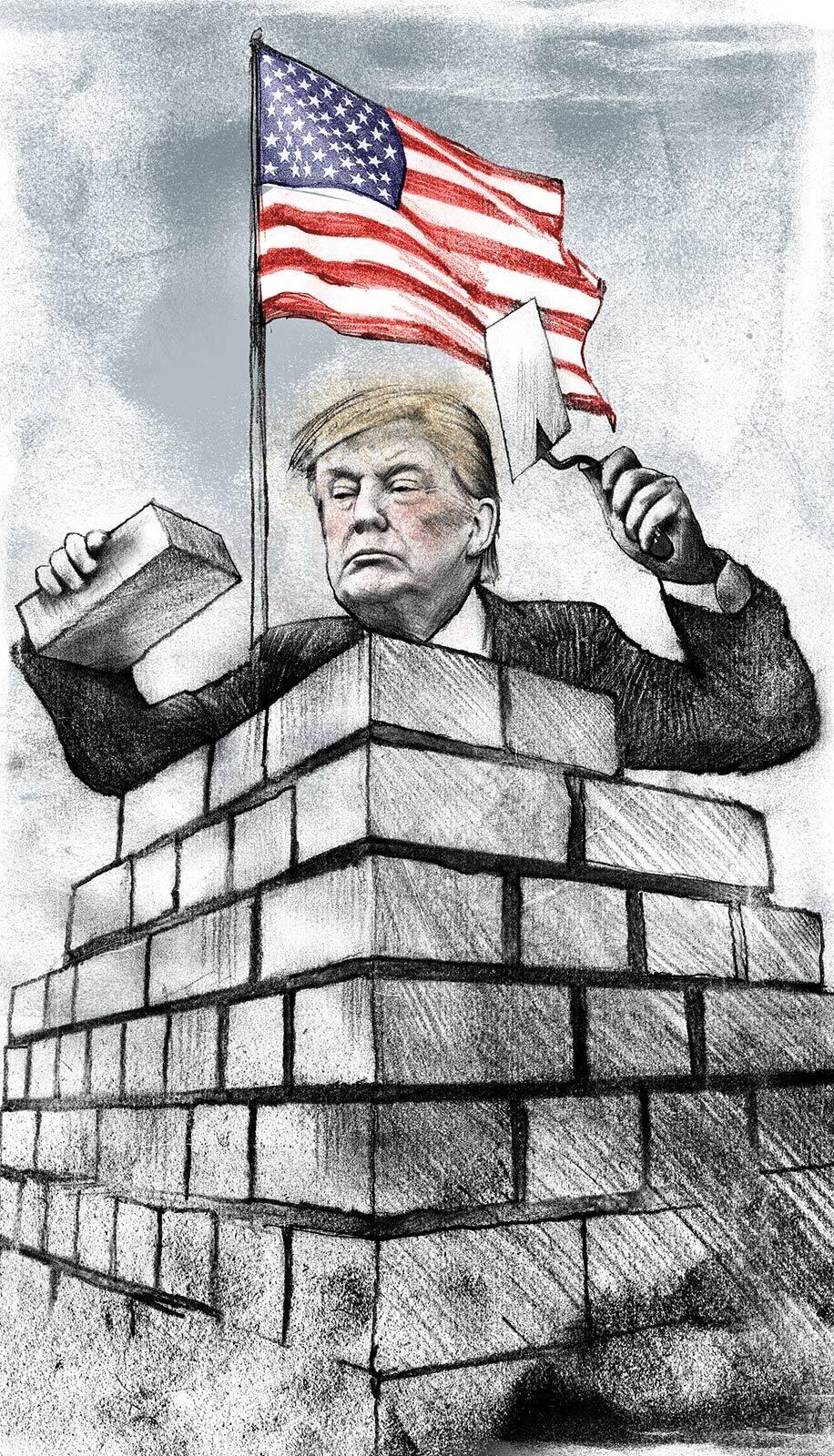 Donald Trump building wall Mexico USA - Kornel Illustration | Kornel Stadler portfolio