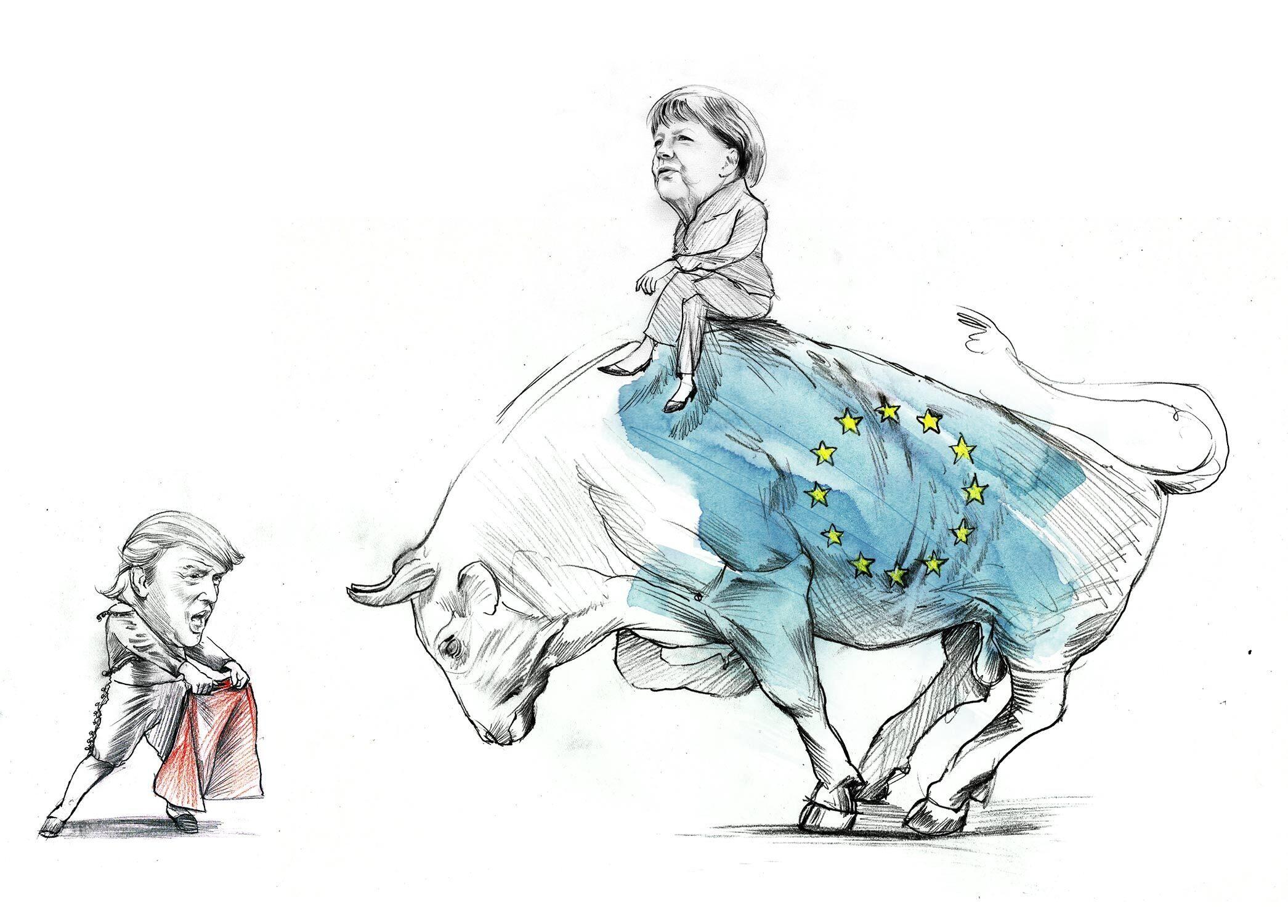 Skizze Trump Merkel Illustration die Zeit - Kornel Illustration | Kornel Stadler portfolio