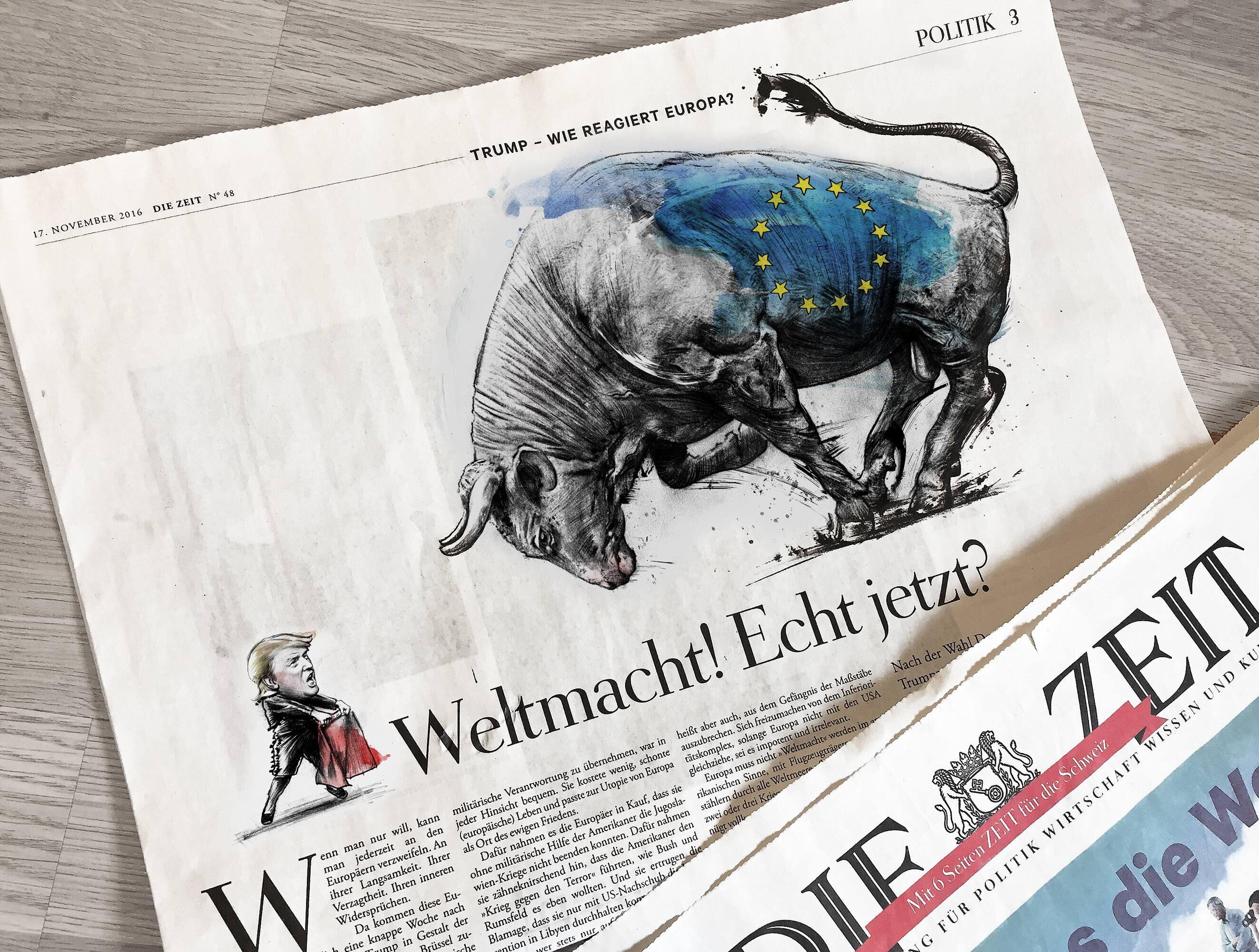 Editorial illustration die zeit donald trump europa - Kornel Illustration   Kornel Stadler portfolio