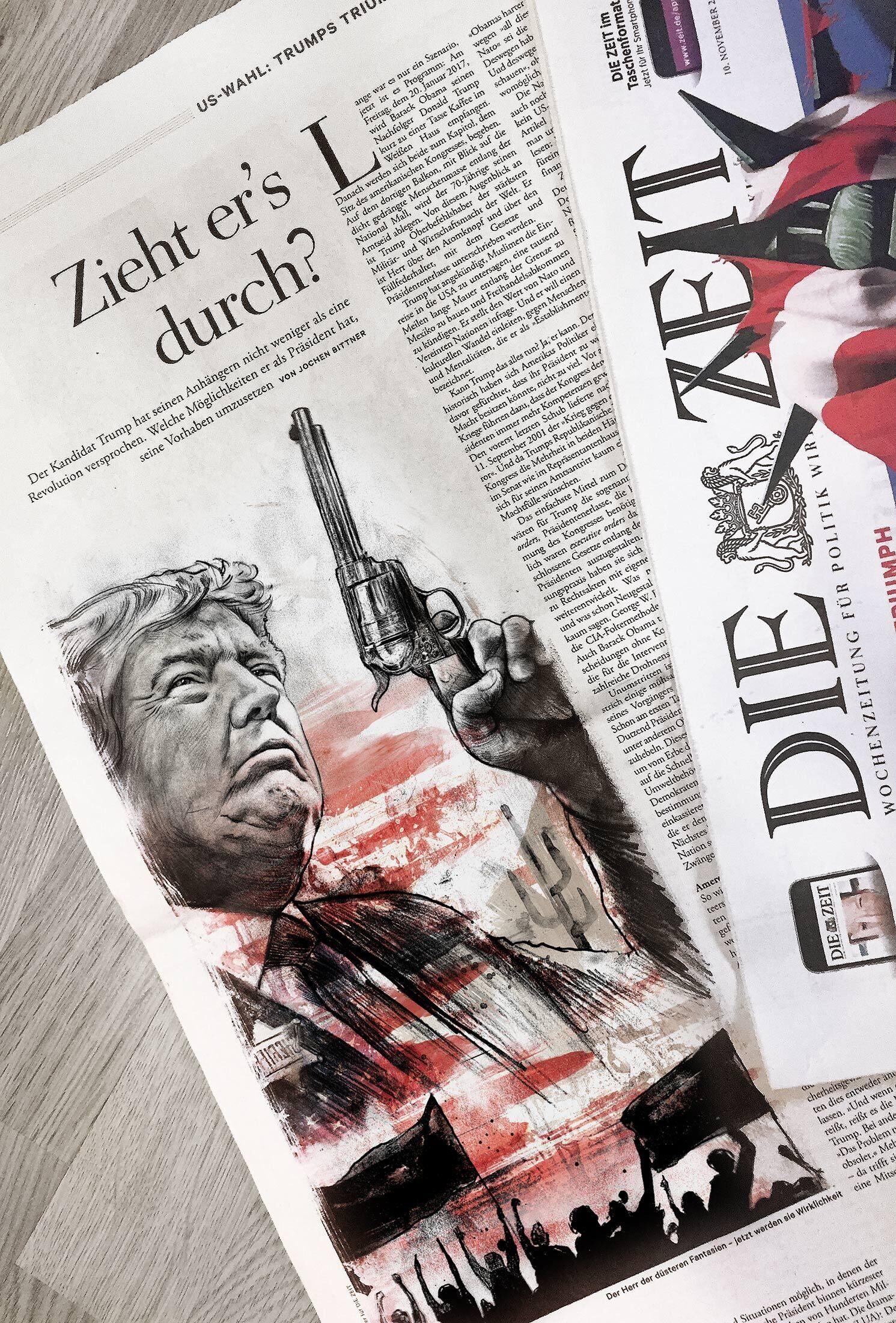 Editorial illustration die zeit donald trump sheriff - Kornel Illustration | Kornel Stadler portfolio