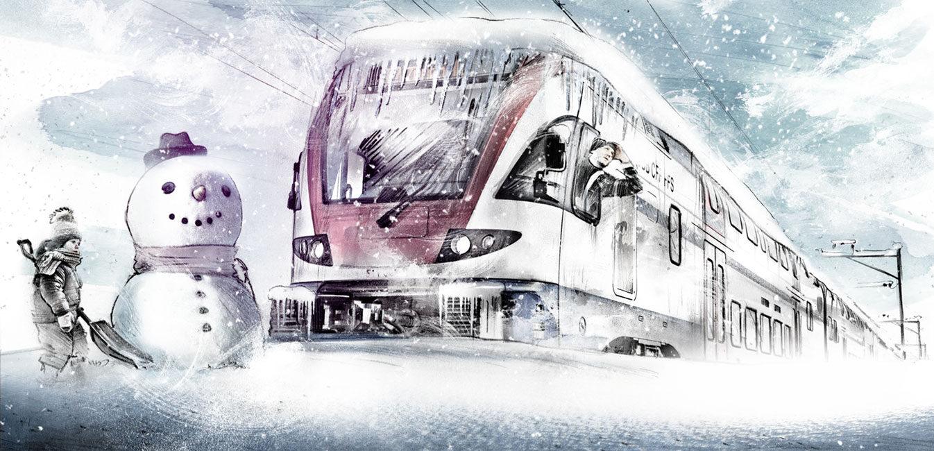 Zug verschneit - Kornel Illustration | Kornel Stadler portfolio