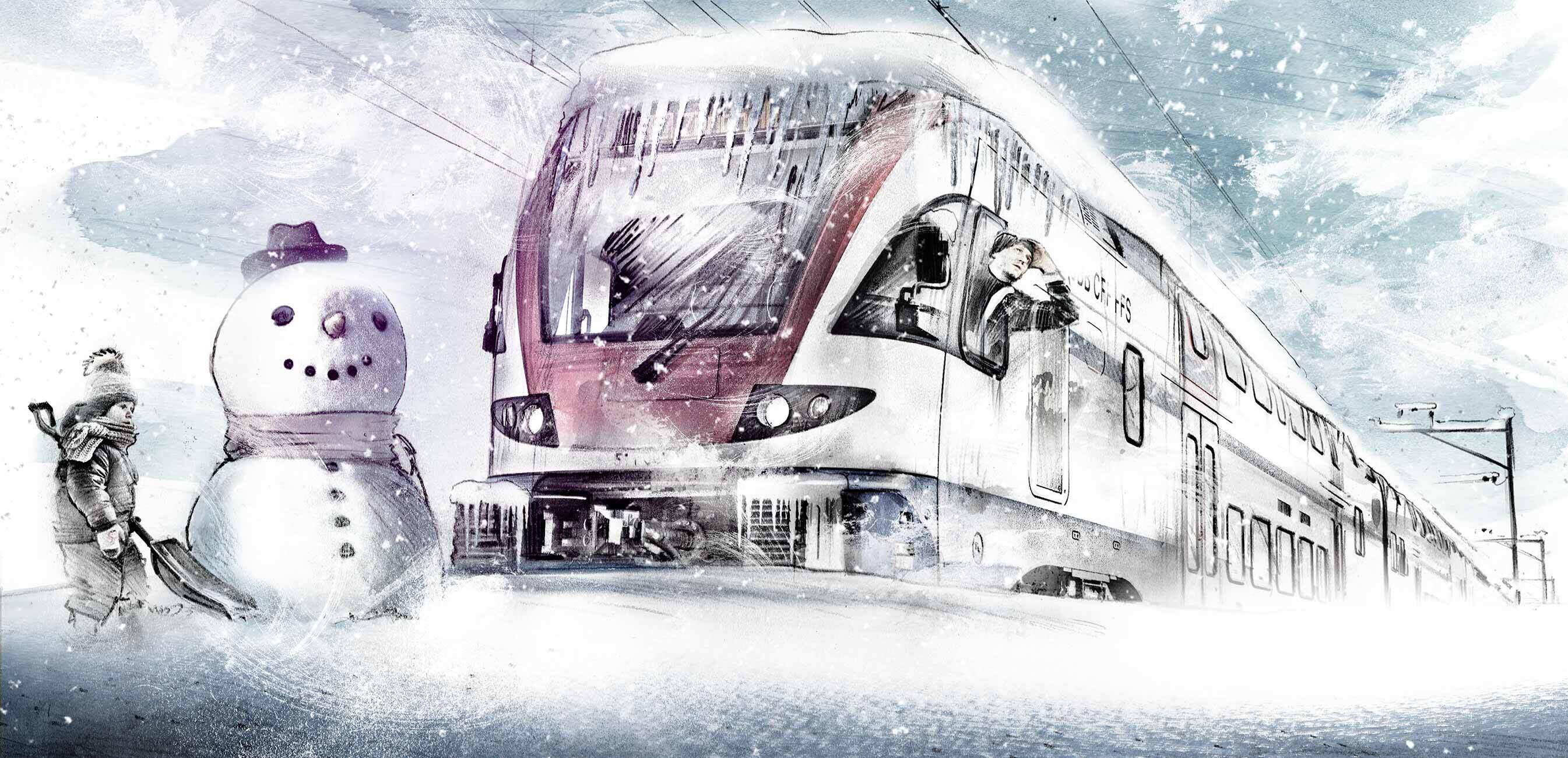 Schnee snow zug verschneit schneemann illustration - Kornel Illustration | Kornel Stadler portfolio