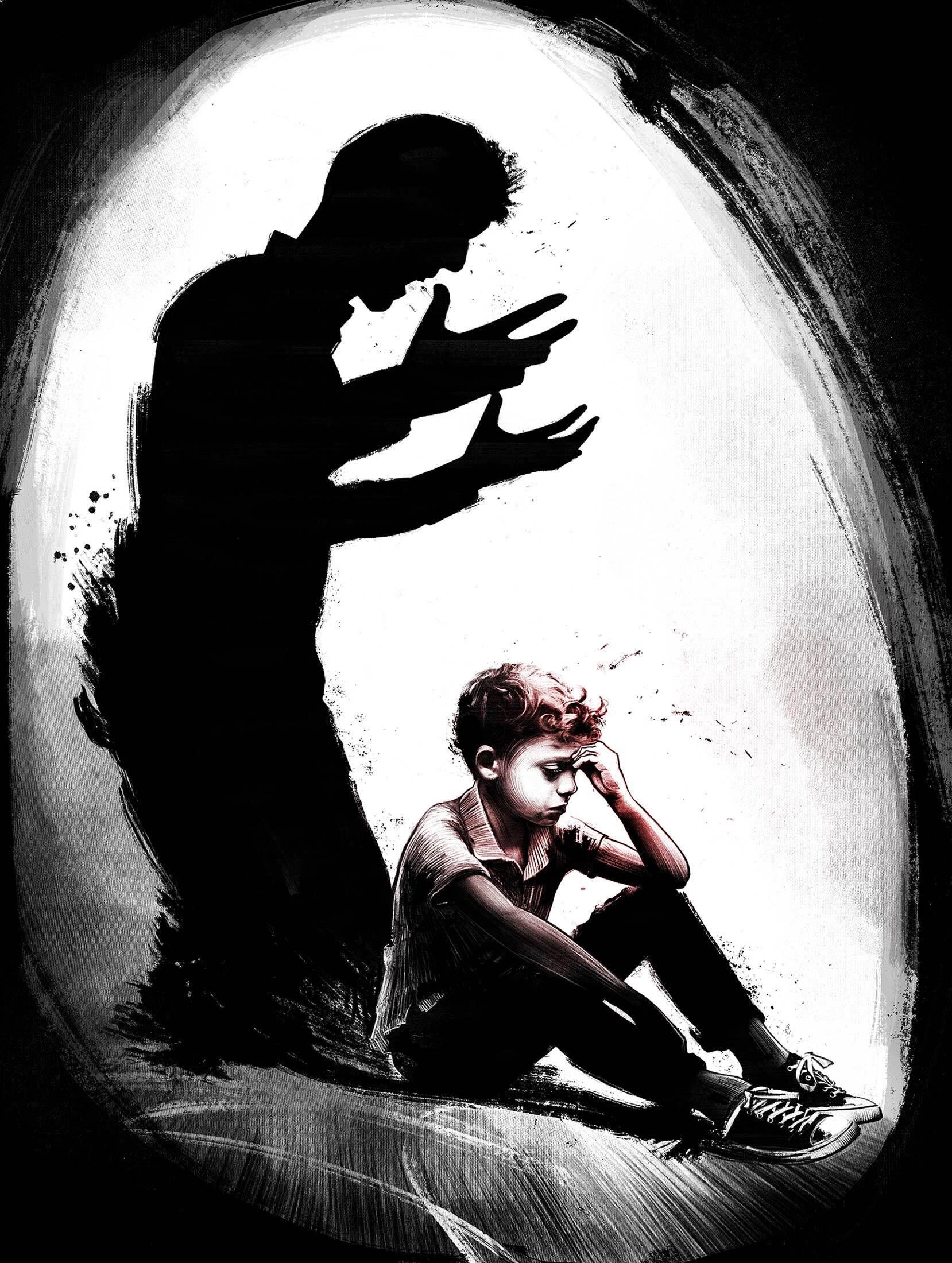 Psychological violence editotorial illustration - Kornel Illustration   Kornel Stadler portfolio