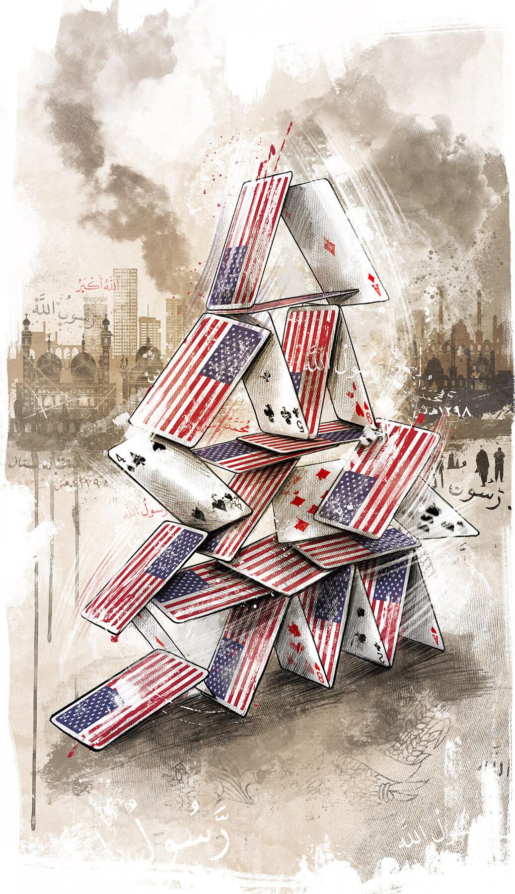 Editorial conceptual illustration usa afghanistan US withdrawal house of cards - Kornel Illustration | Kornel Stadler portfolio