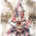 Client Arbeit Editorial conceptual illustration usa afghanistan US withdrawal house of cards Kornel Illustration | Kornel Stadler