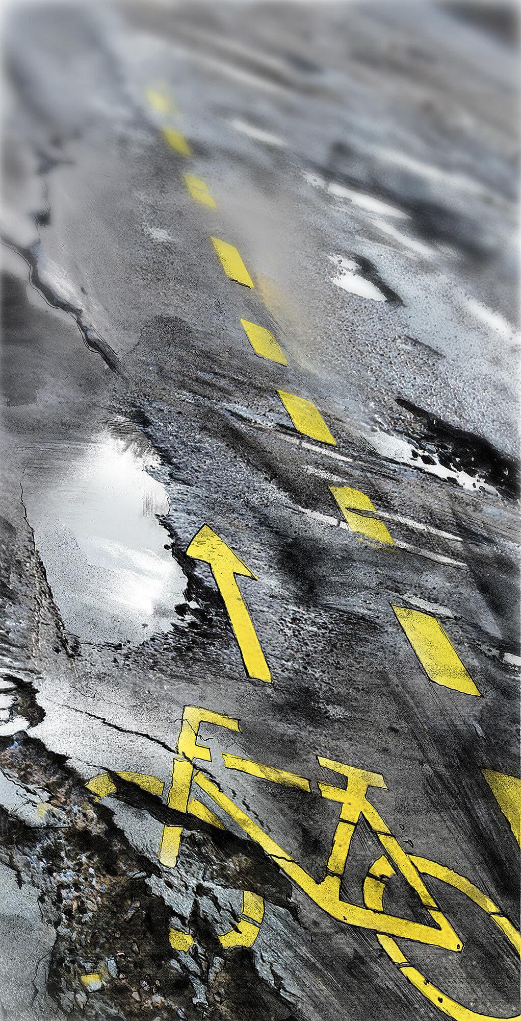 Veloweg fahrrad wueste asphalt strasse illustration - Kornel Illustration | Kornel Stadler portfolio