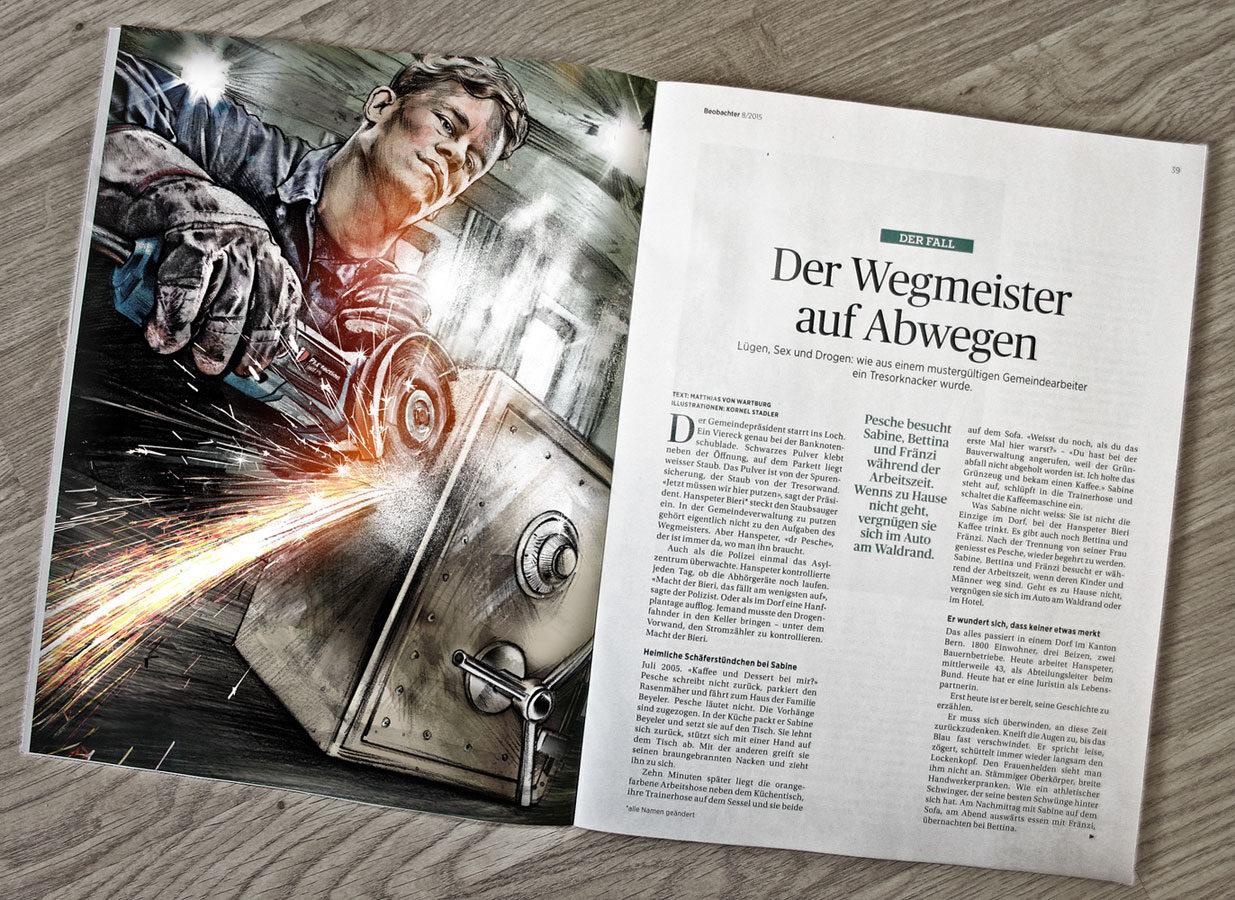 Beobachter Tresorknacker 1 - Kornel Illustration | Kornel Stadler portfolio