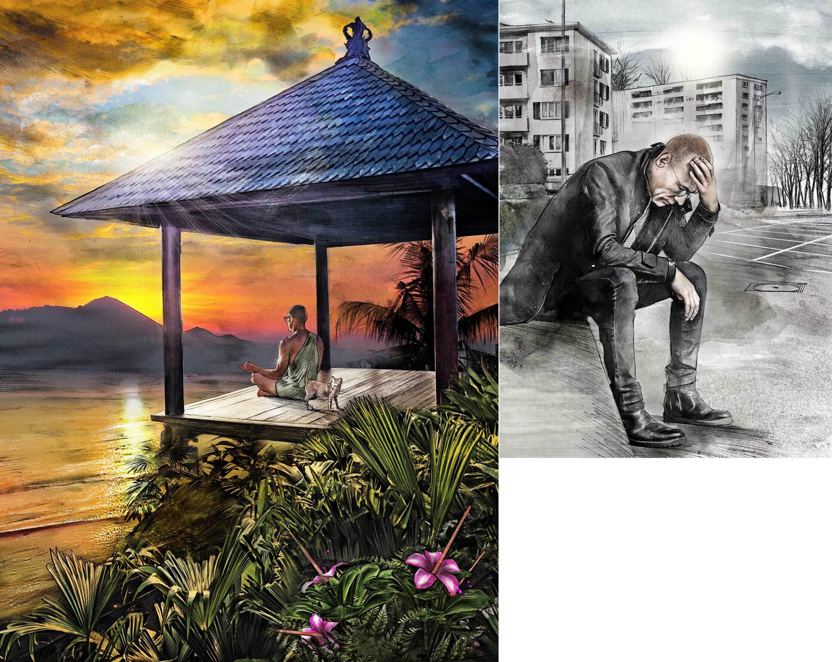 Lombok indonesia illustration meditation sunset - Kornel Illustration | Kornel Stadler portfolio
