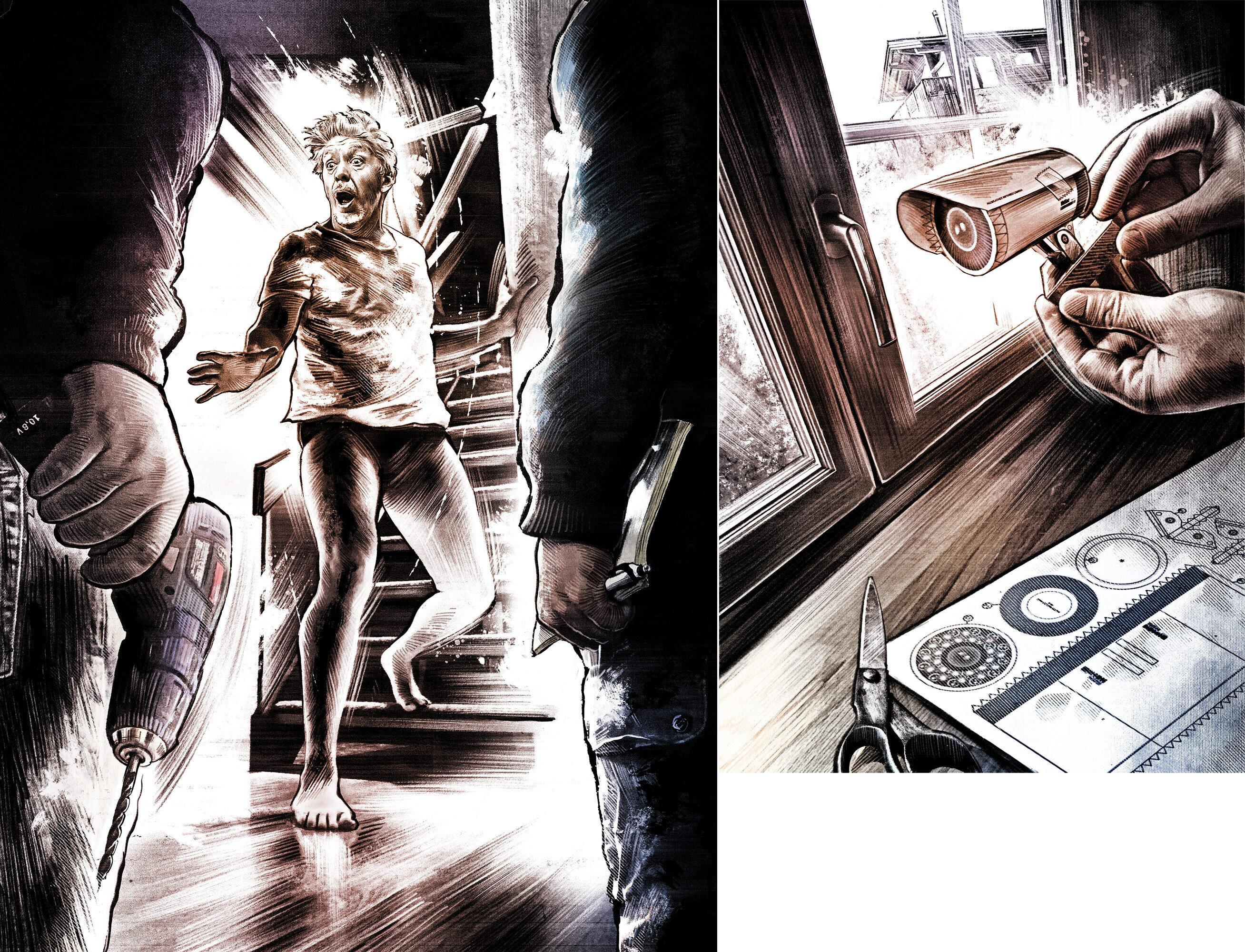 Vom Nachbarschaftsstreit Hausdurchsuchung bohrmaschine einbrecher robbery burglary camera kamera atrappe illustration action scene - Kornel Illustration   Kornel Stadler portfolio