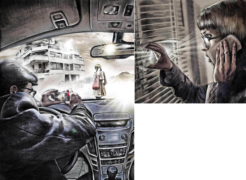 Detektiv observation spionage kamera illustration - Kornel Illustration | Kornel Stadler portfolio